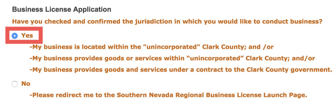 """Business Location: - Select """"Yes"""" to confirm that you will be driving in the Las Vegas region (Clark County)"""