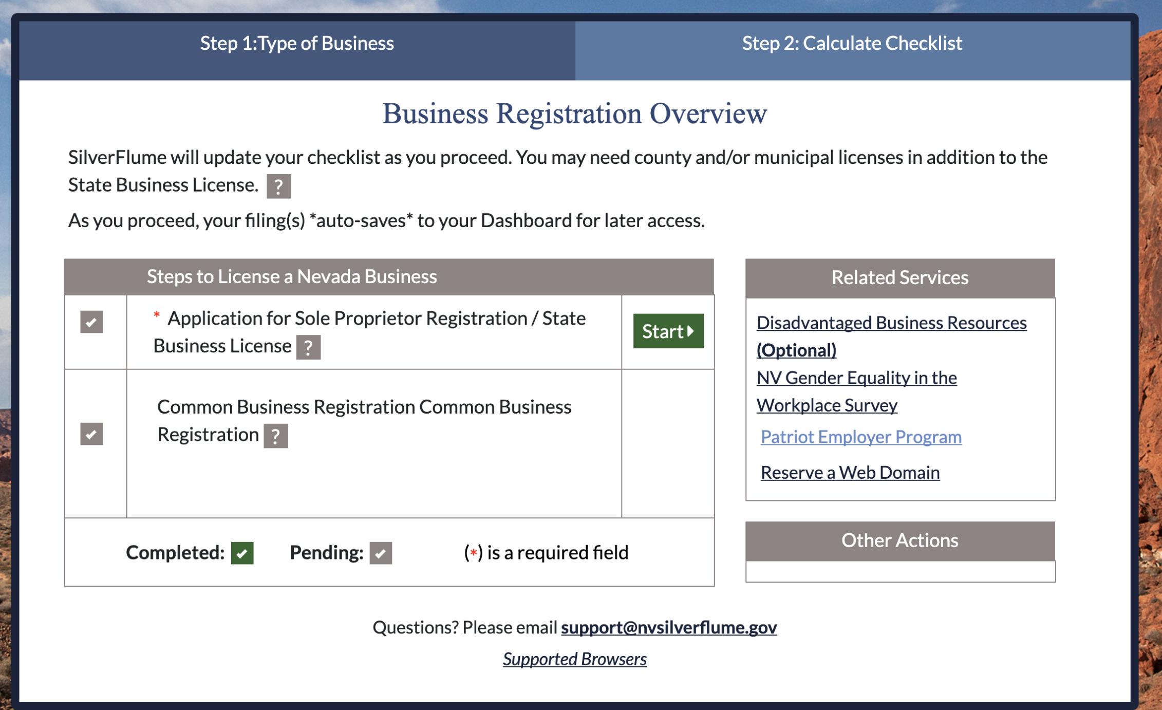 "Business Registration - Click ""Start"" On Business Registration Overview page to begin business license application process."