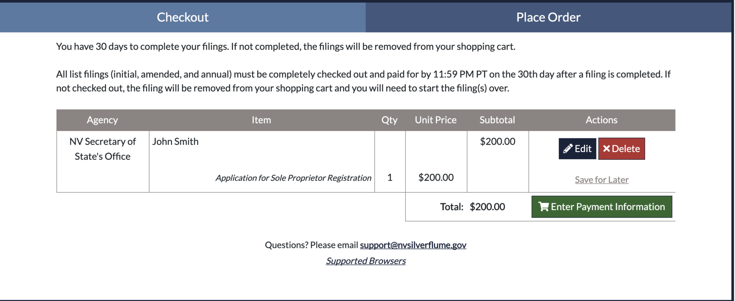 Checkout - 1) DO NOT complete the 'Common Business Registration'.2) Select 'Checkout Now' to purchase your business license.3) Print and take a picture of your Nevada business license. 4) After you checkout, your state business license will be located in the Documents tab at the top of the page.
