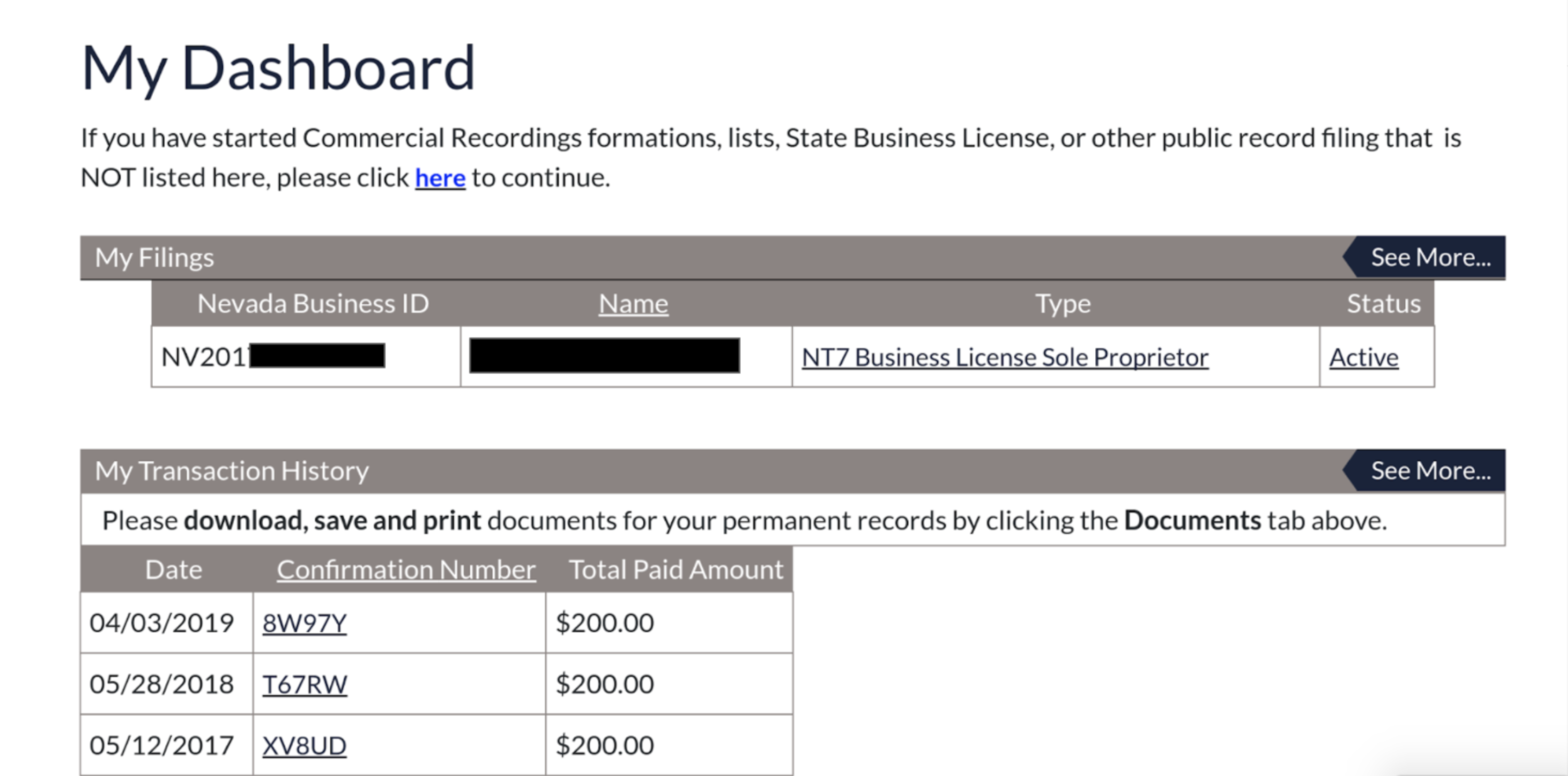 Dashboard - To view your active business licenses, navigate to your dashboard.