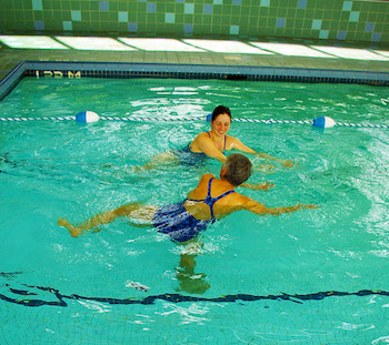 Active rehab in water which opposes the forces of gravity allowing for ease of movement