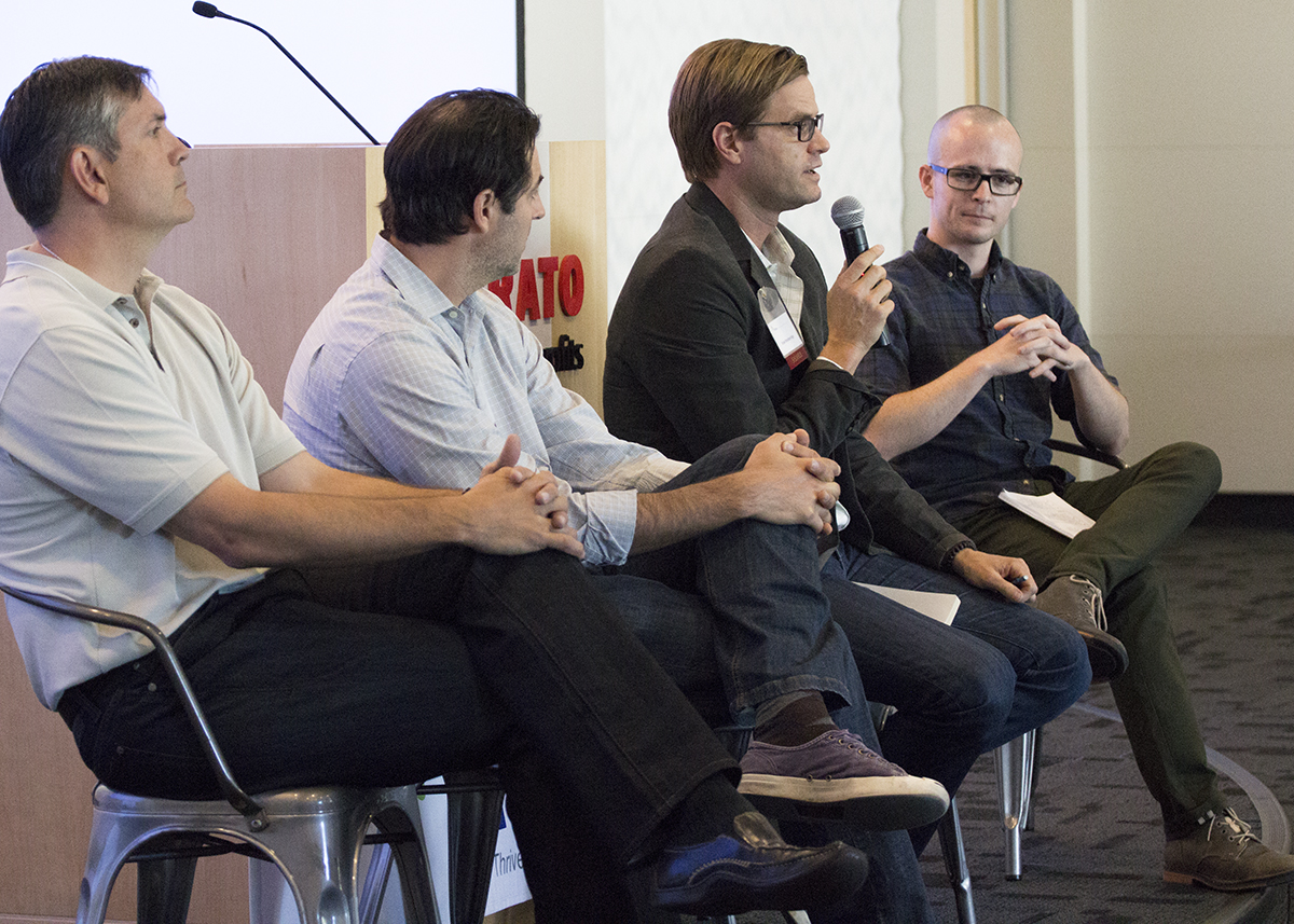 Roderick Campbell moderates a discussion with Michael White (ActOn), Eric Facas (Media Cause), and Bryan Breckenridge (Box.org)