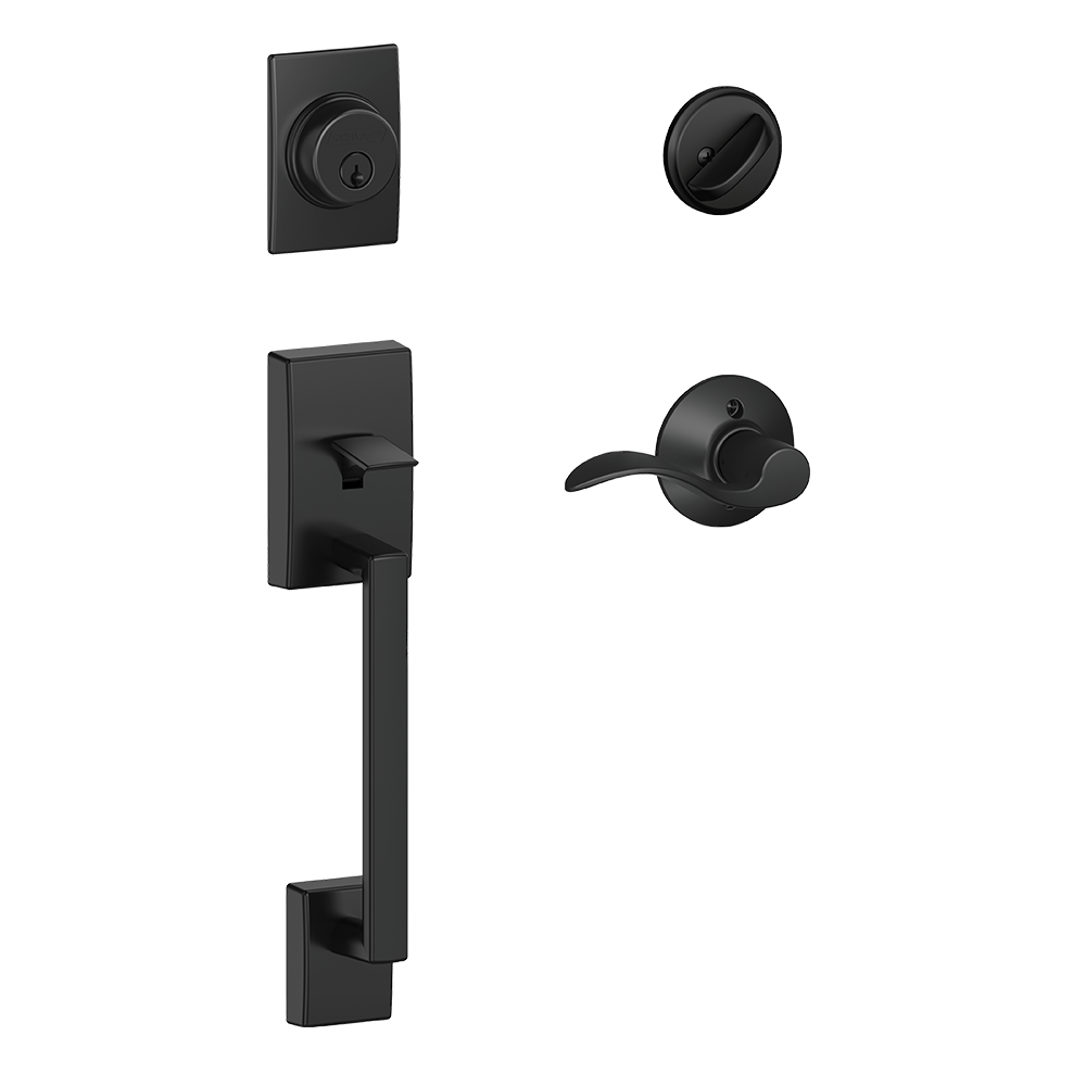Schlage Century Single Cylinder Handleset and Accent Lever Matte Black (FE285 CEN 622 LAT.png