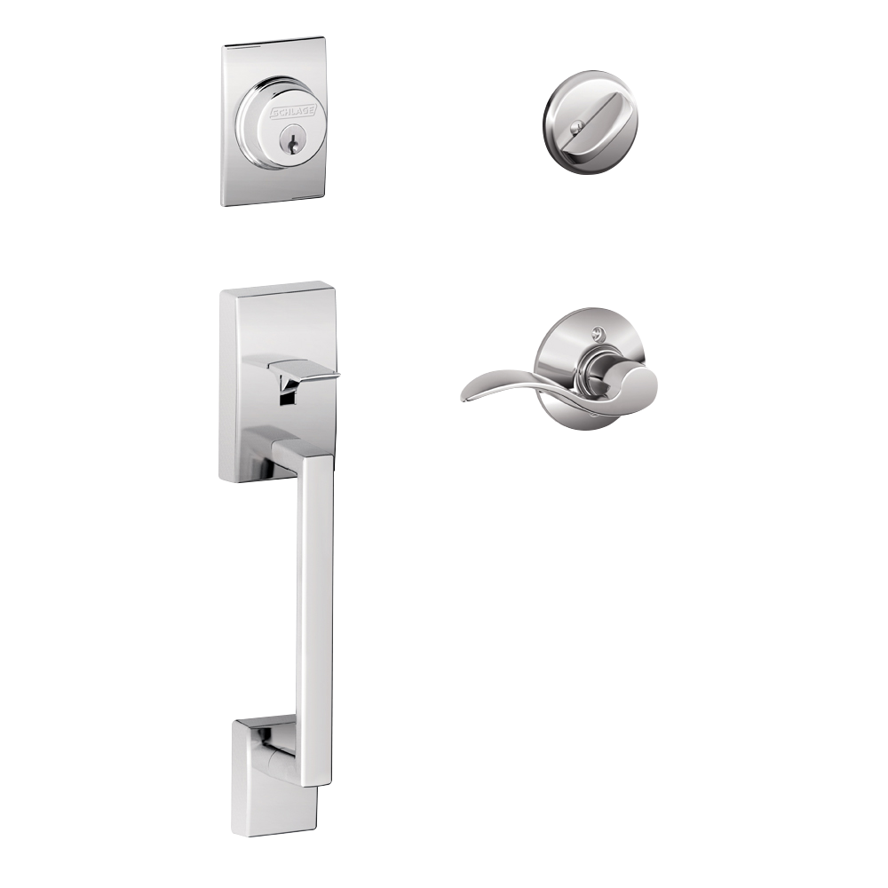 Schlage Century Single Cylinder Handleset and Accent Lever Bright Chrome (F60 CEN 625 ACC.png