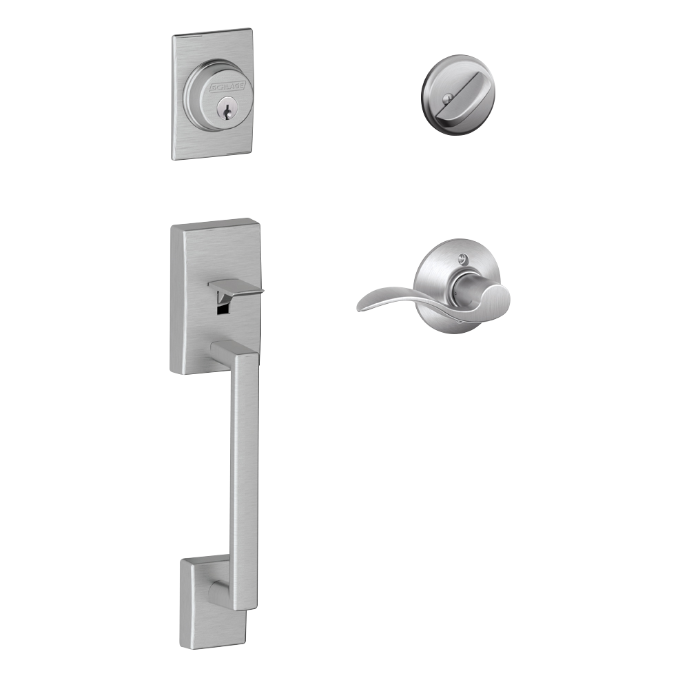 Schlage Century Single Cylinder Handleset and Accent Lever Satin Chrome (FE285 CEN 626 LAT.png