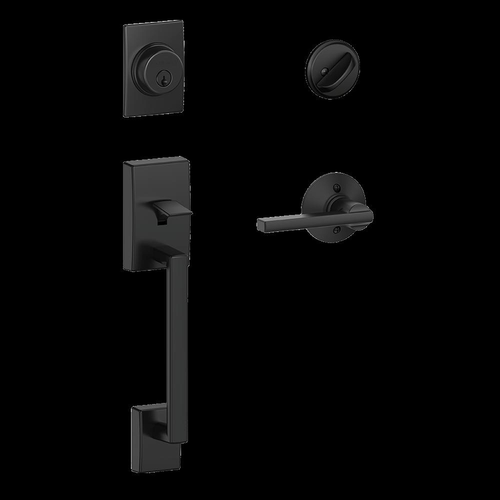 Schlage Century Single Cylinder Handleset and Latitude Lever Matte Black (F60 CEN 622 LAT.png