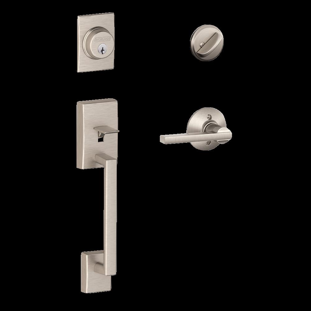 Schlage Century Single Cylinder Handleset and Latitude Lever Satin Nickel (F60 CEN 619 LAT.png