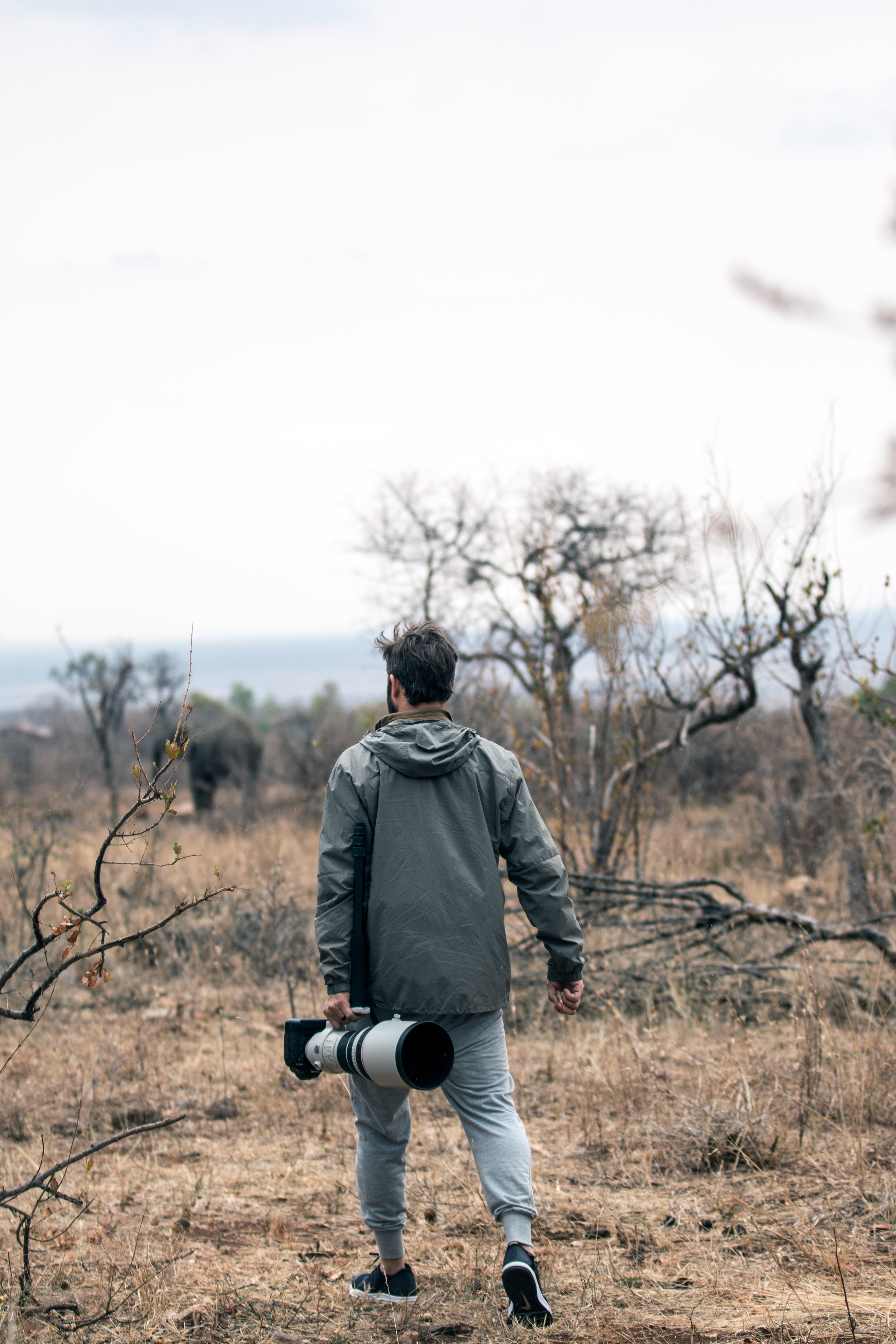 Walking around in South Africa looking for animals to photograph.