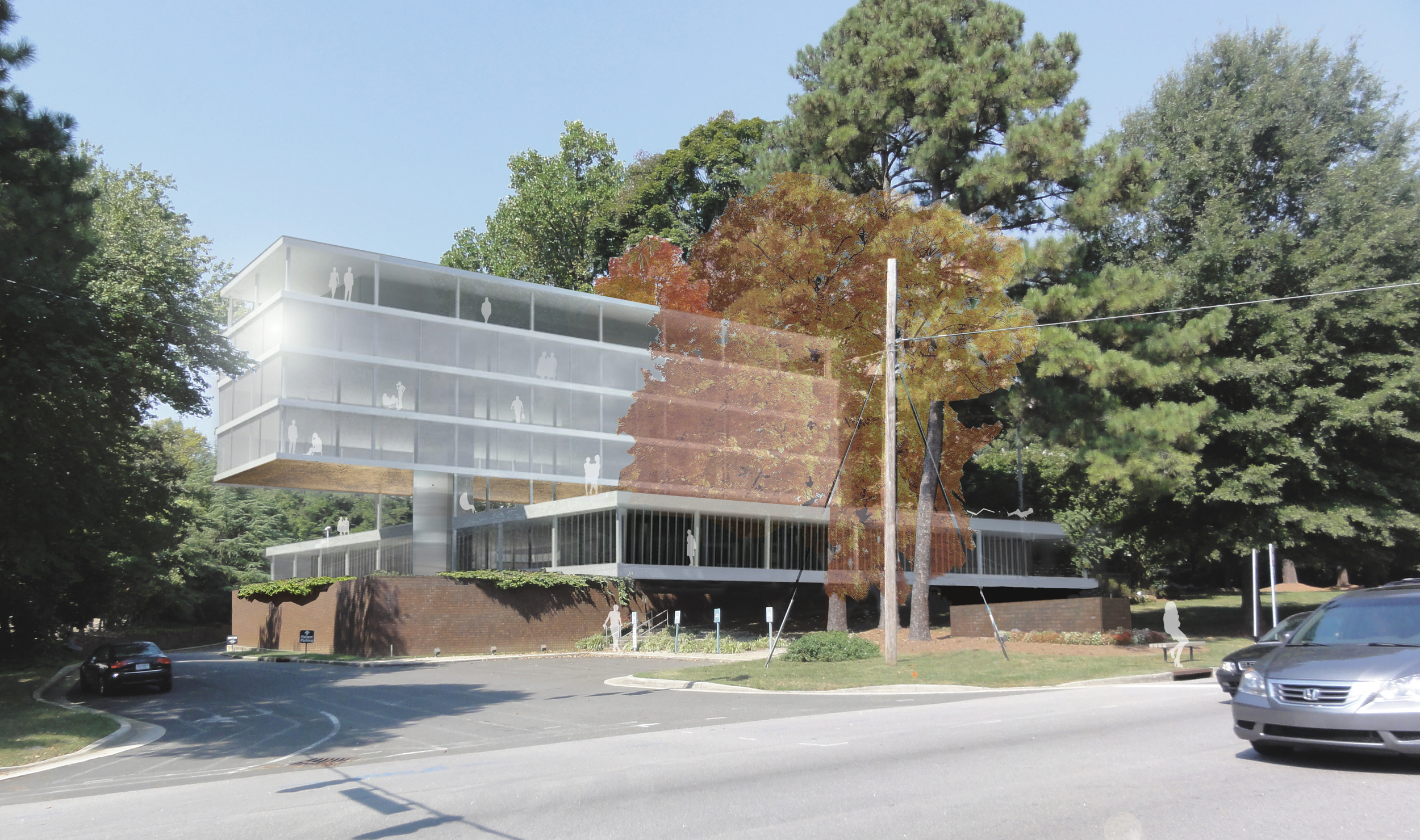 3515 Glenwood   Raleigh, North Carolina   Architect:  HA    Program:   Refurbishment of an existing 35,000sf (3,500m2) office building, with an additional 35,000sf (3,500m2) new construction of office space on top of the existing building. The plan sought to create an interior courtyard in the existing building with a new roof garden, also on the existing structure.   Client:   Withheld