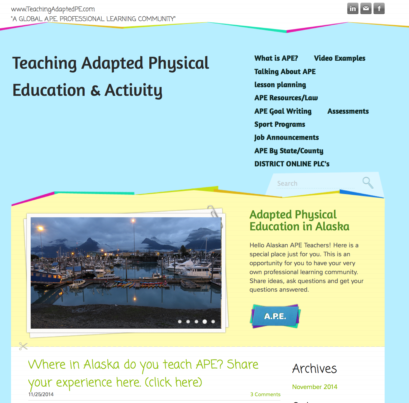 Visit, comment and share on Alaska's own Adaptive PE Blog!