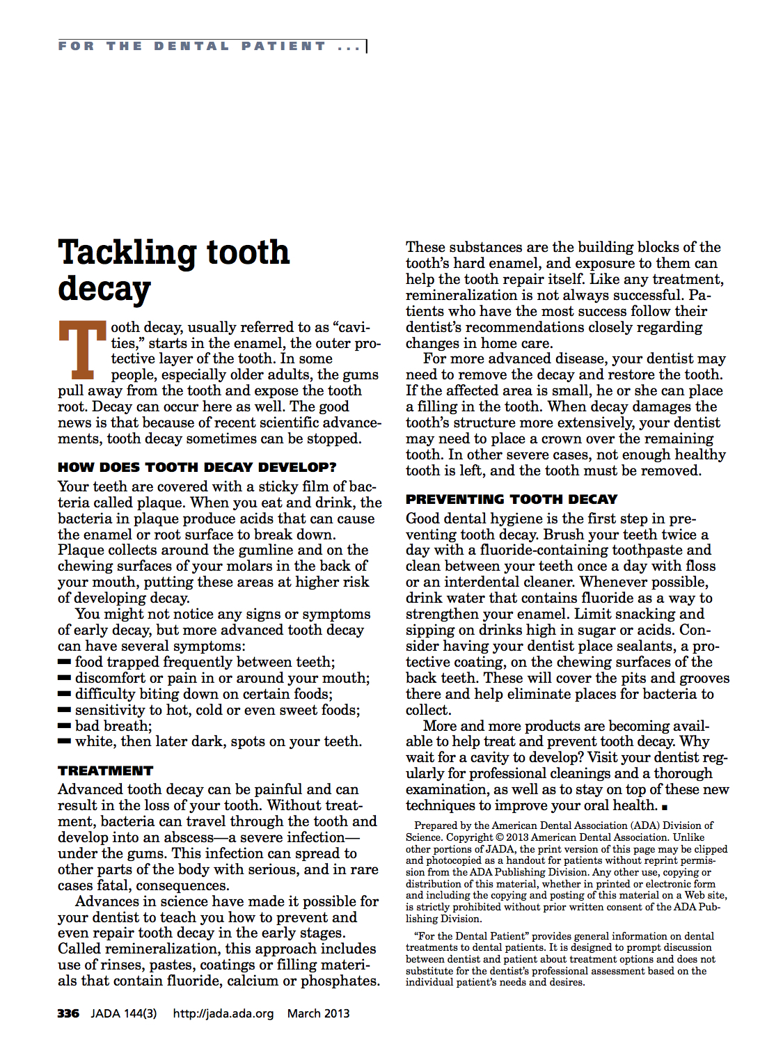 Tackling Tooth Decay