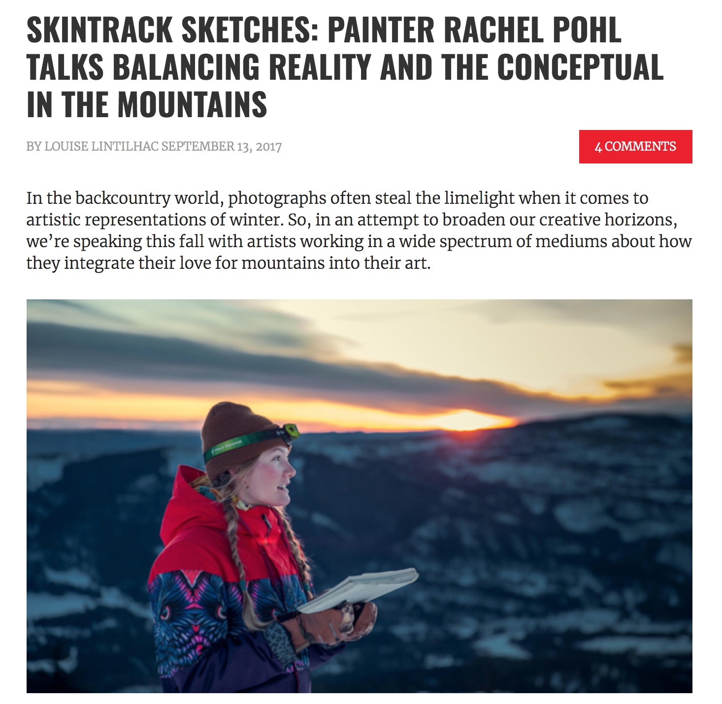 I caught up with Backcountry Magazine, to talk a bit about my artwork and approach to life and painting.