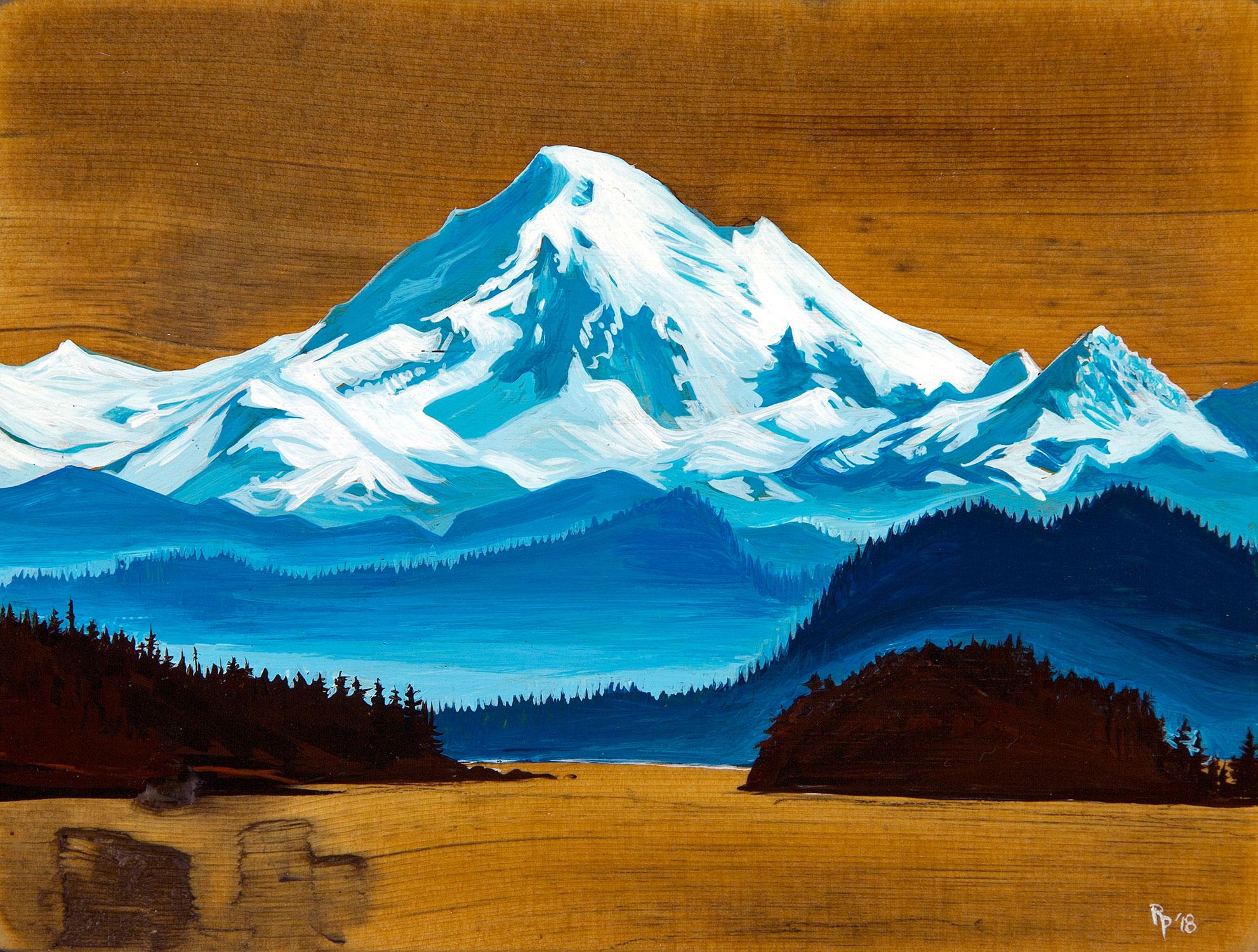 """""""Blue Baker"""" Acrylic on Reclaimed Barn Wood"""