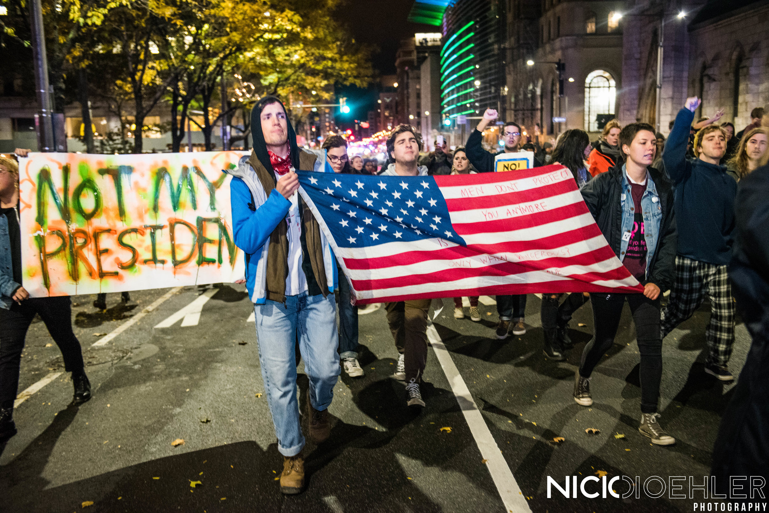 """""""Not My President"""", A phrase that was sang throughout the night around the diverse streets."""