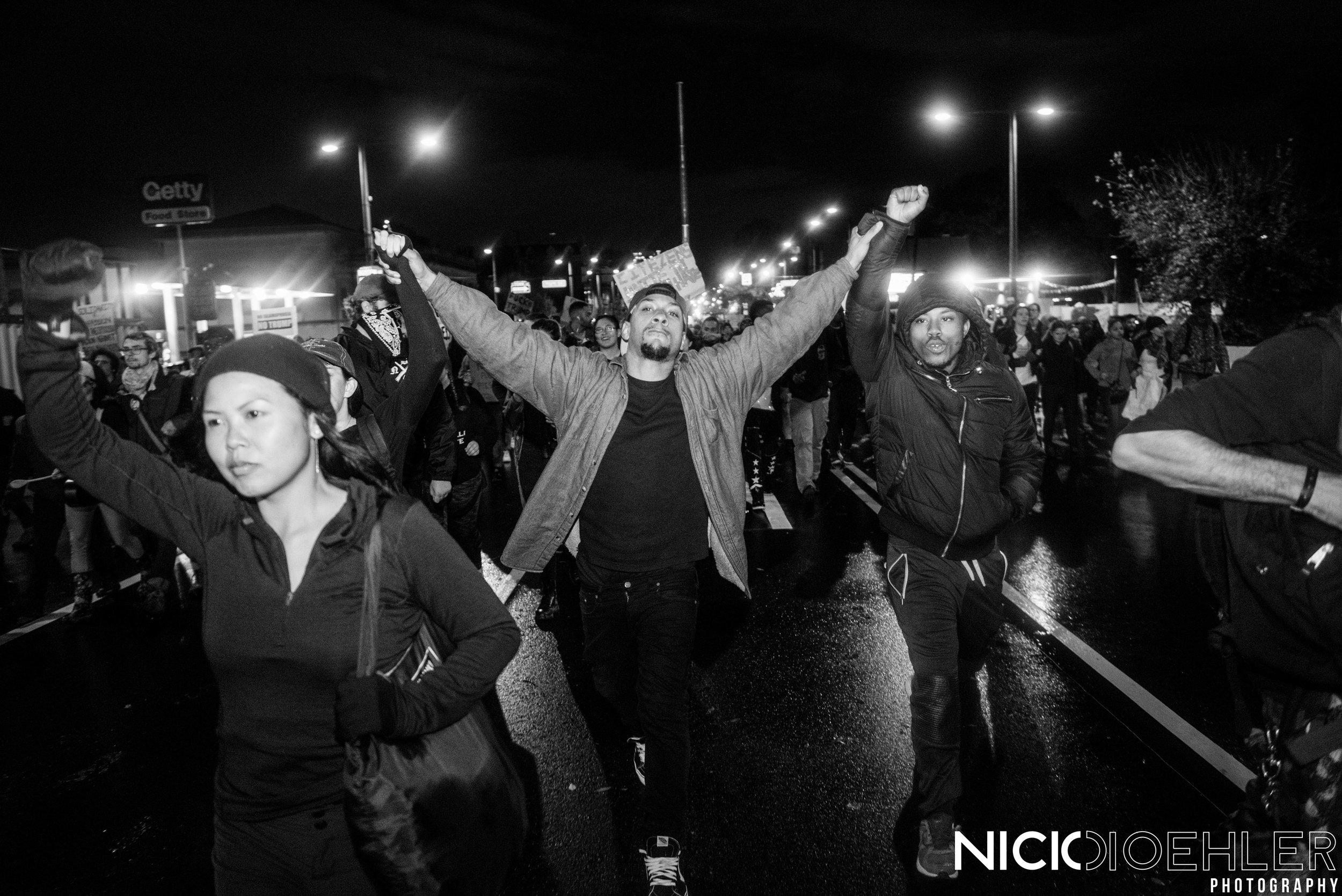 Celebrating the protest heading back to Center City, Philadelphia.