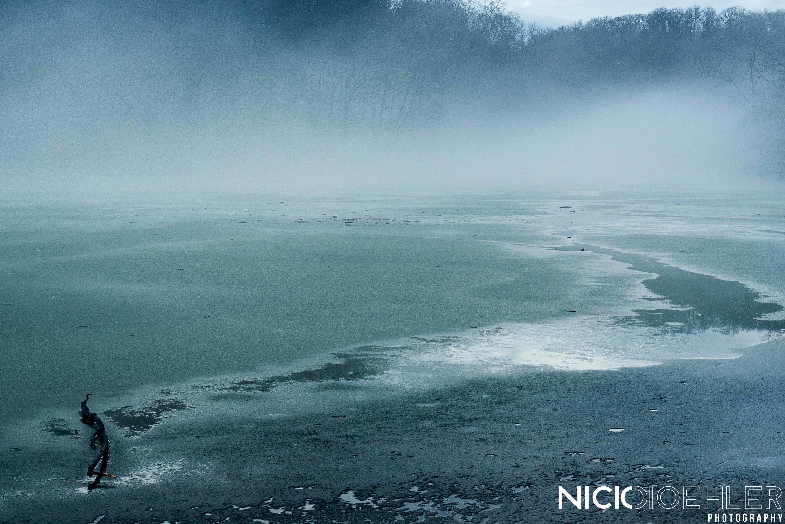 Water spread across the frozen lake.