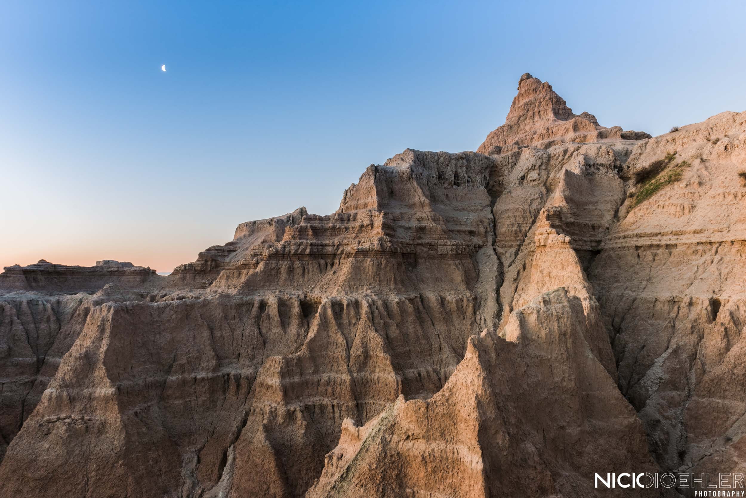 Badlands National Park: Right after the sunrise, this light was giving a nice textural feel along the ridges.