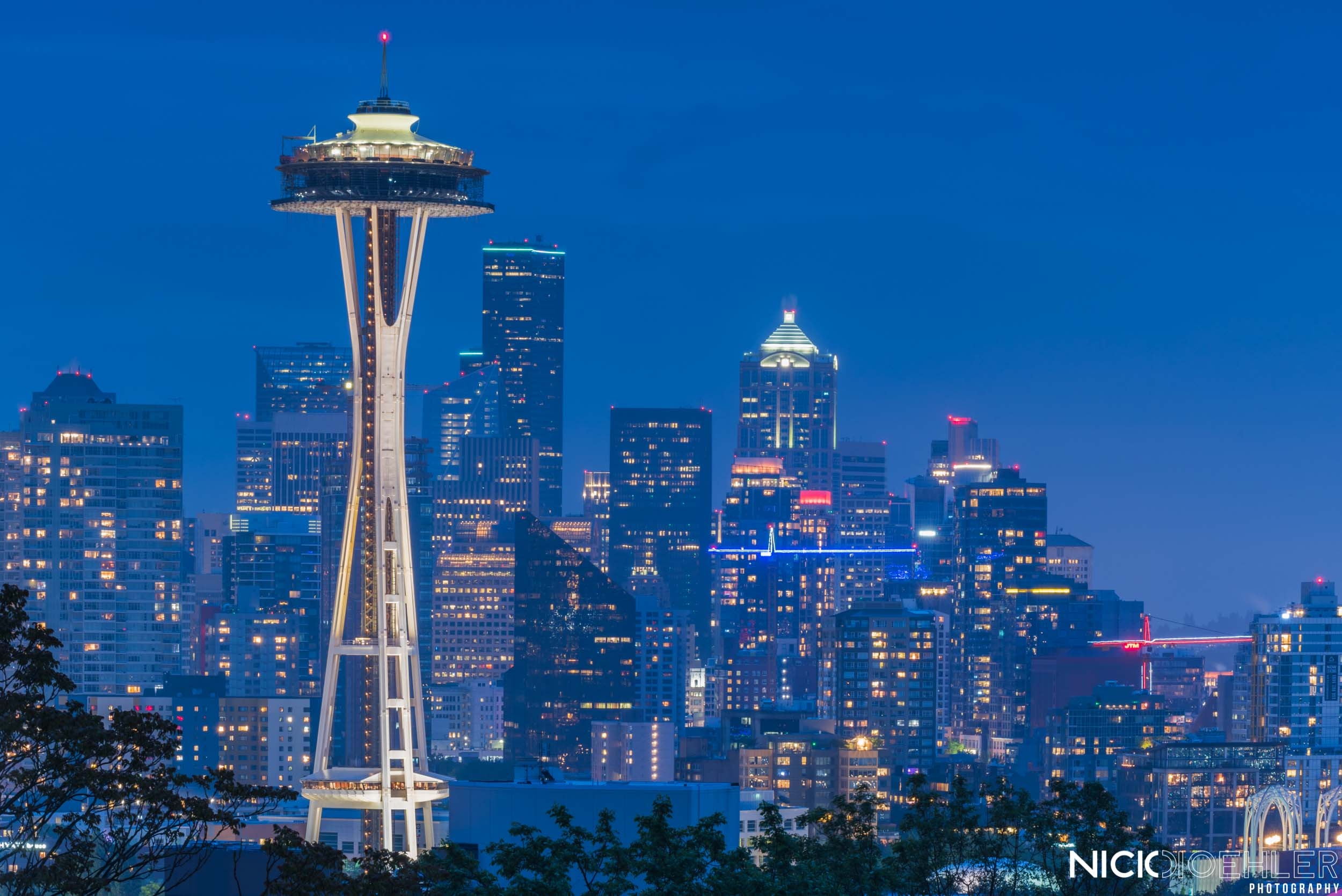 Seattle, Washington: The space needle with the blue city behind it.