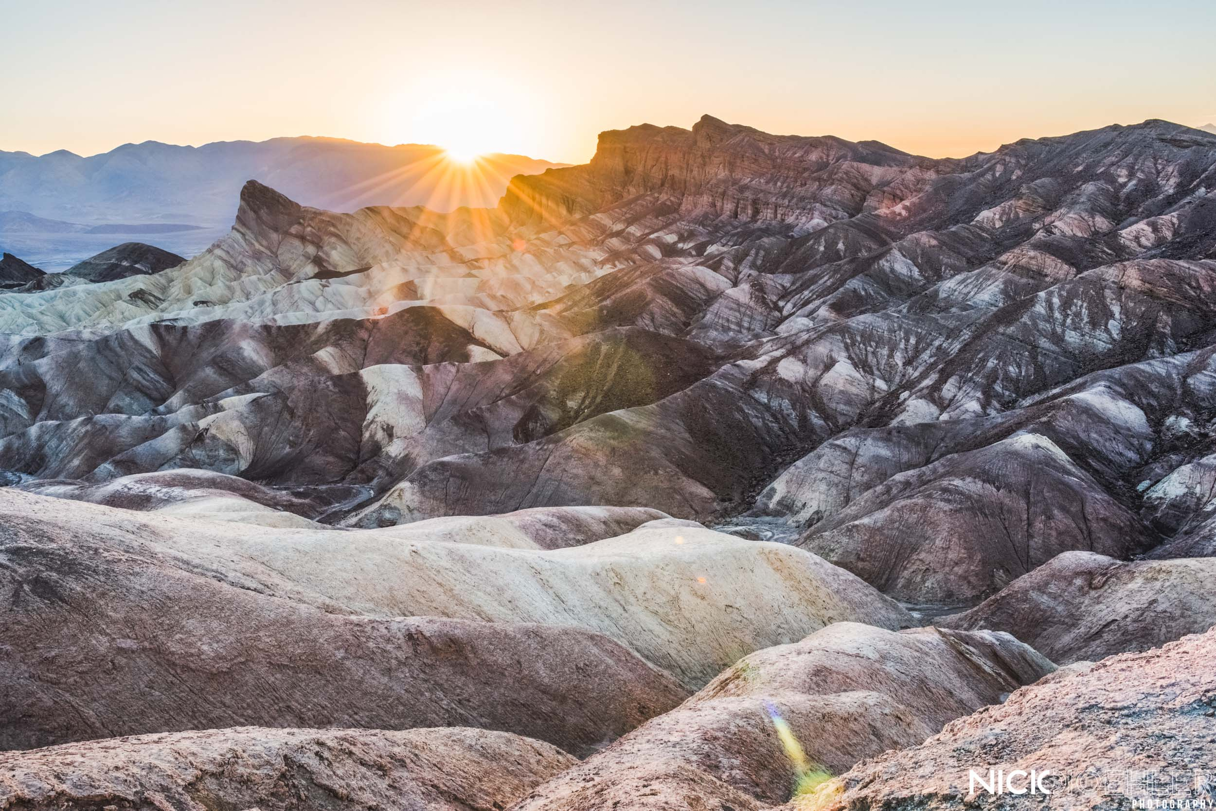 Death Valley National Park: Sunset over Zabriskie Point.