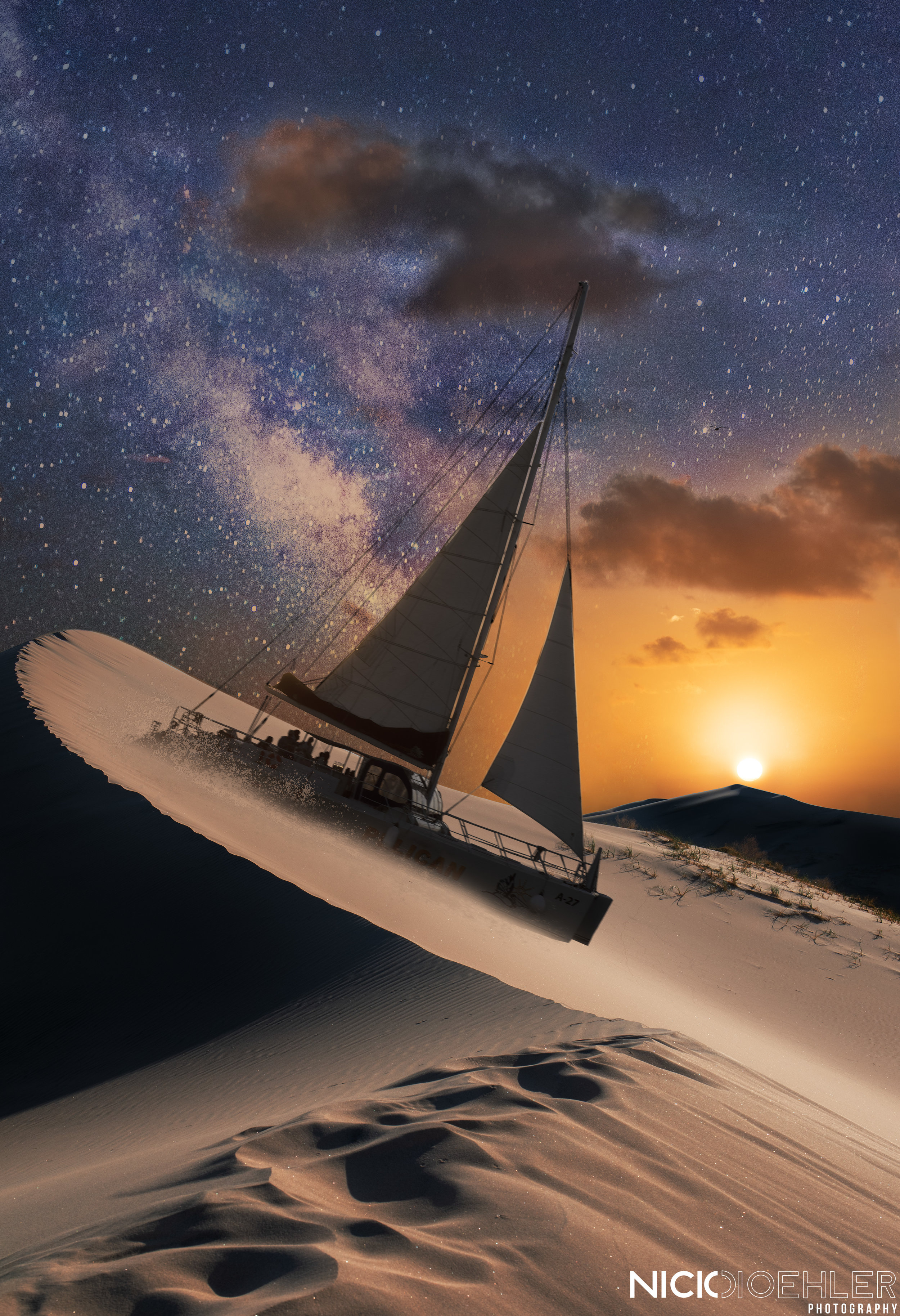 Desert Sails - This was the first one I made, it included sand dunes, the milky way, and a sailboat. This creation was to fill it all with Irony. Sailing on sand, and Stars during Sunset. I mainly masked and then did some color correction to fit the mood and scenery.