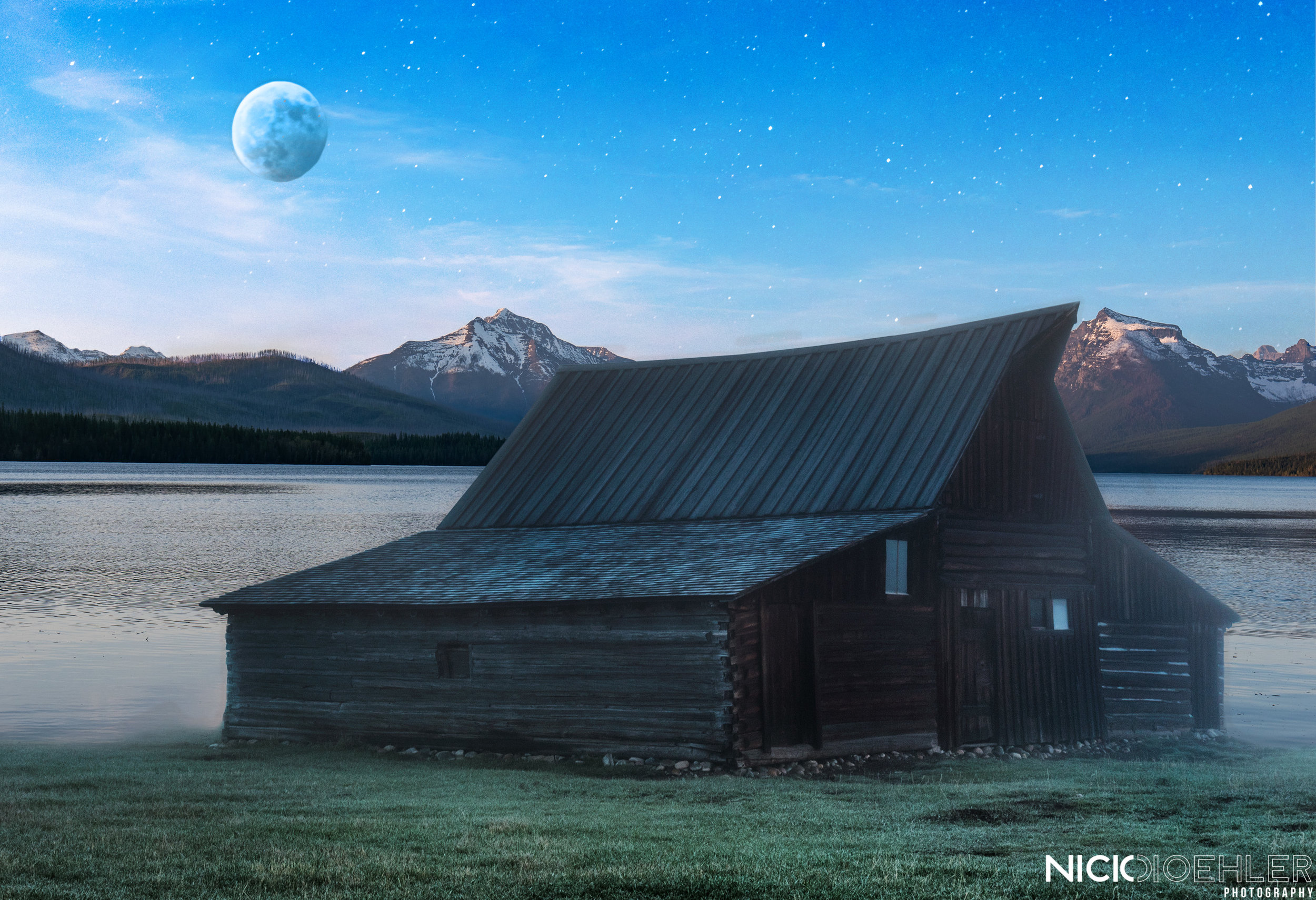 Lake House Moonrise - This image was created to bring the idea of a walk in pool. This image has the moody grass fading into a lake that is from Montana.