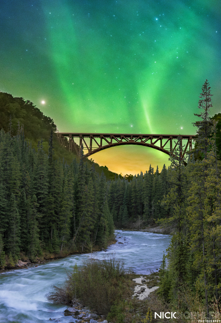 Bridge to the Lights - This image was created to incorporate Northern Lights I was able to capture in Iceland. Then to have them placed about a gorgeous bridge that is in New York.