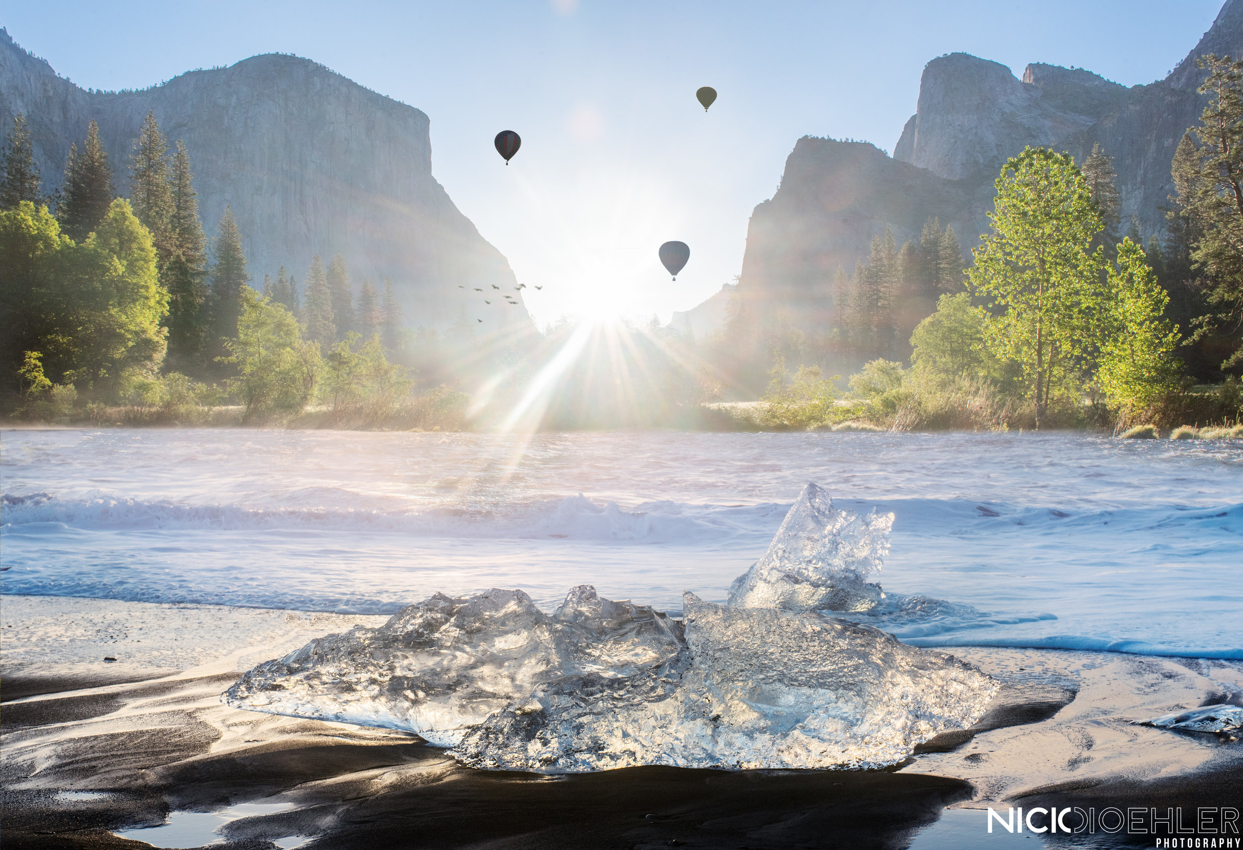 Yosemite Dream - I wanted this to be a dream in Yosemite National Park. Having the Hot Air Balloons brings me the dream of the valley. If one day they released Hot Air Balloons I'll be there. California made me think of hot so I added the ice to add the Irony.