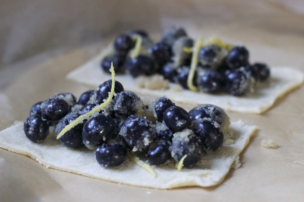 load up the dough triangle with the blueberry mixture