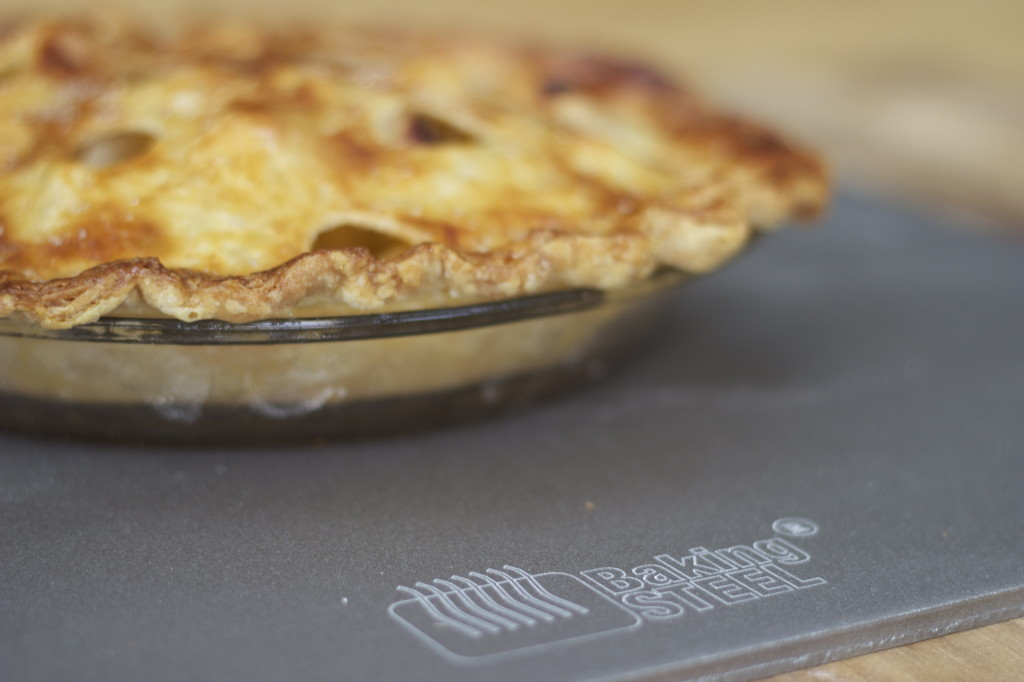apple pie on a baking steel
