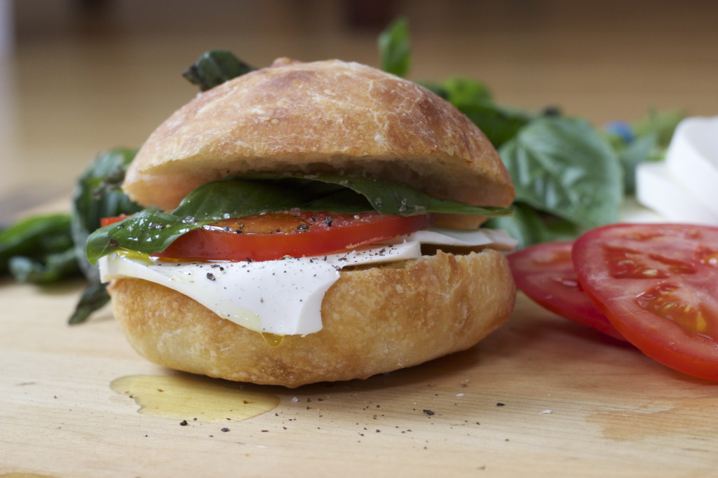 deconstructed caprese salad, on bread