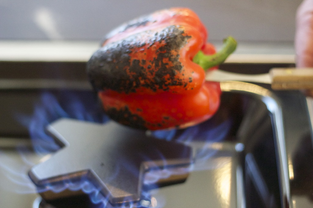 roasting a red pepper