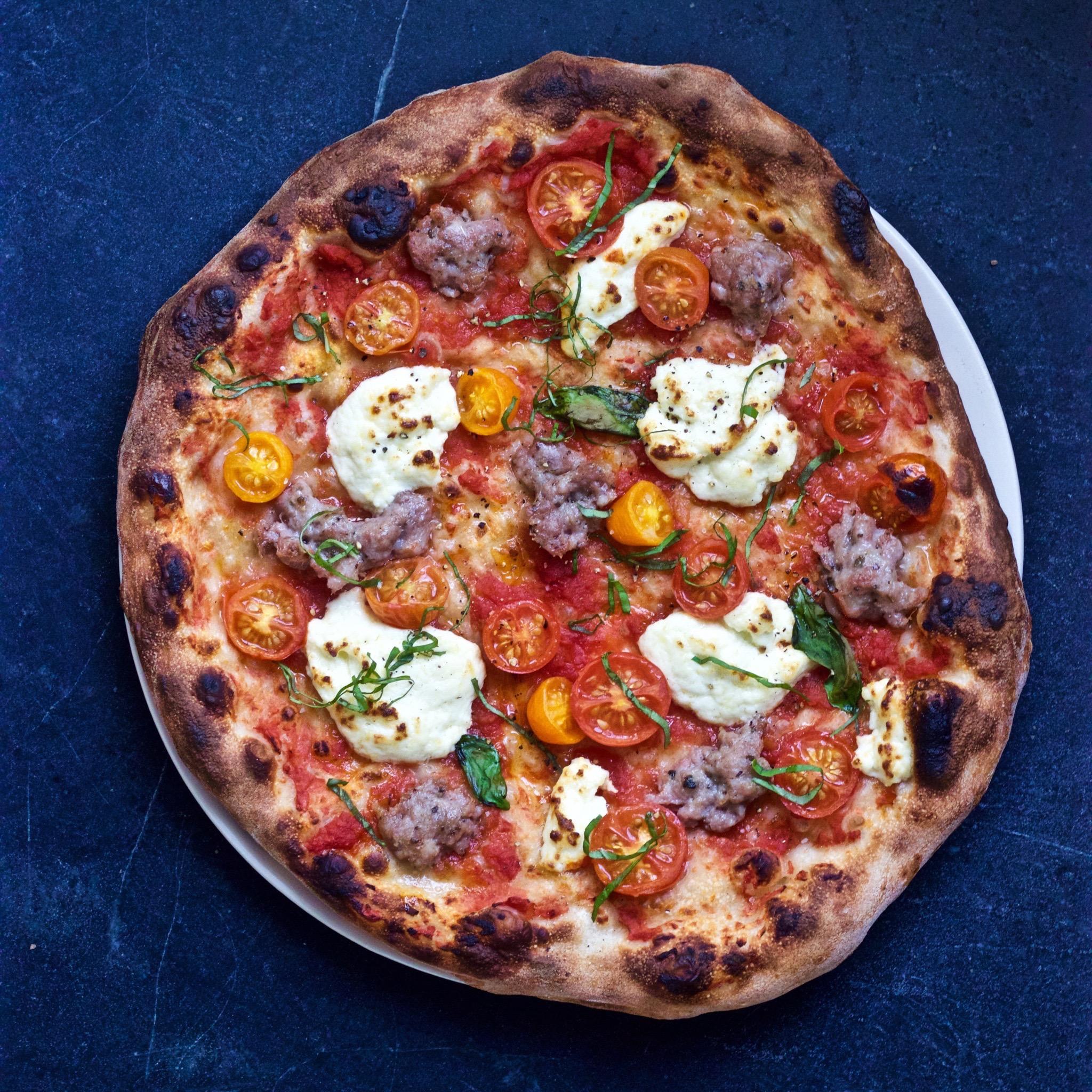 fresh ricotta and sausage pizza