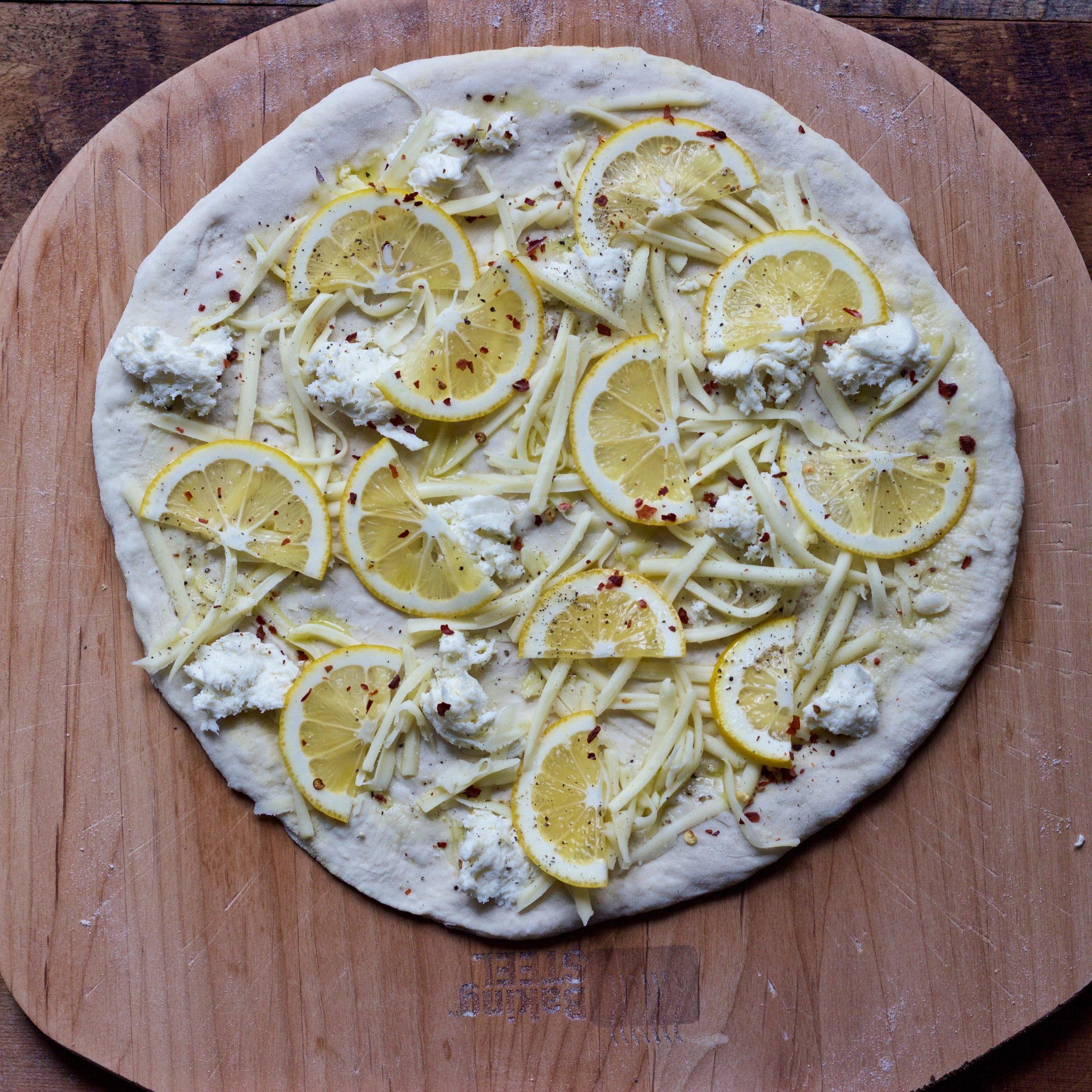 lemon and kale pizza