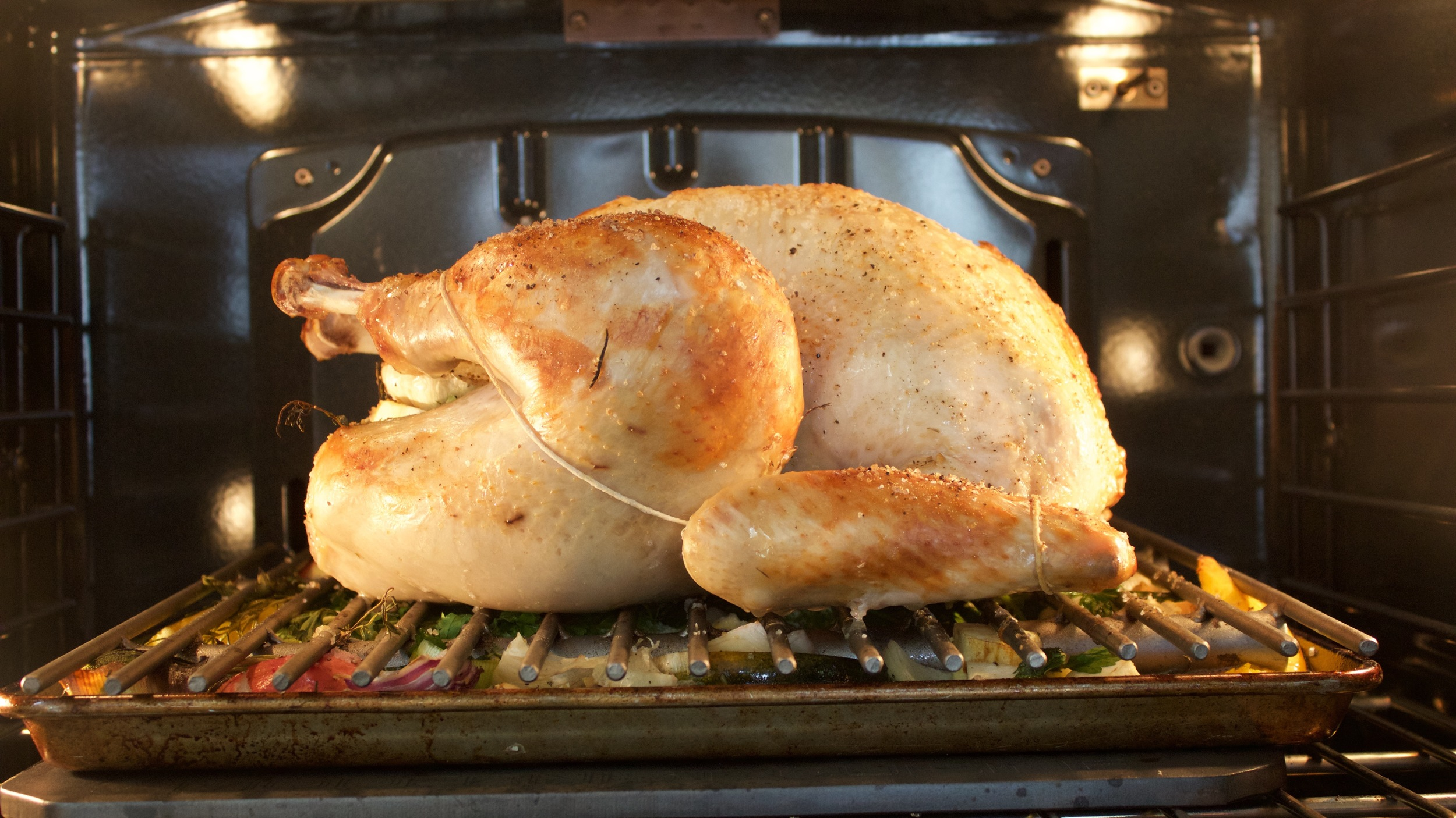 roasted turkey in the oven, on a Baking Steel