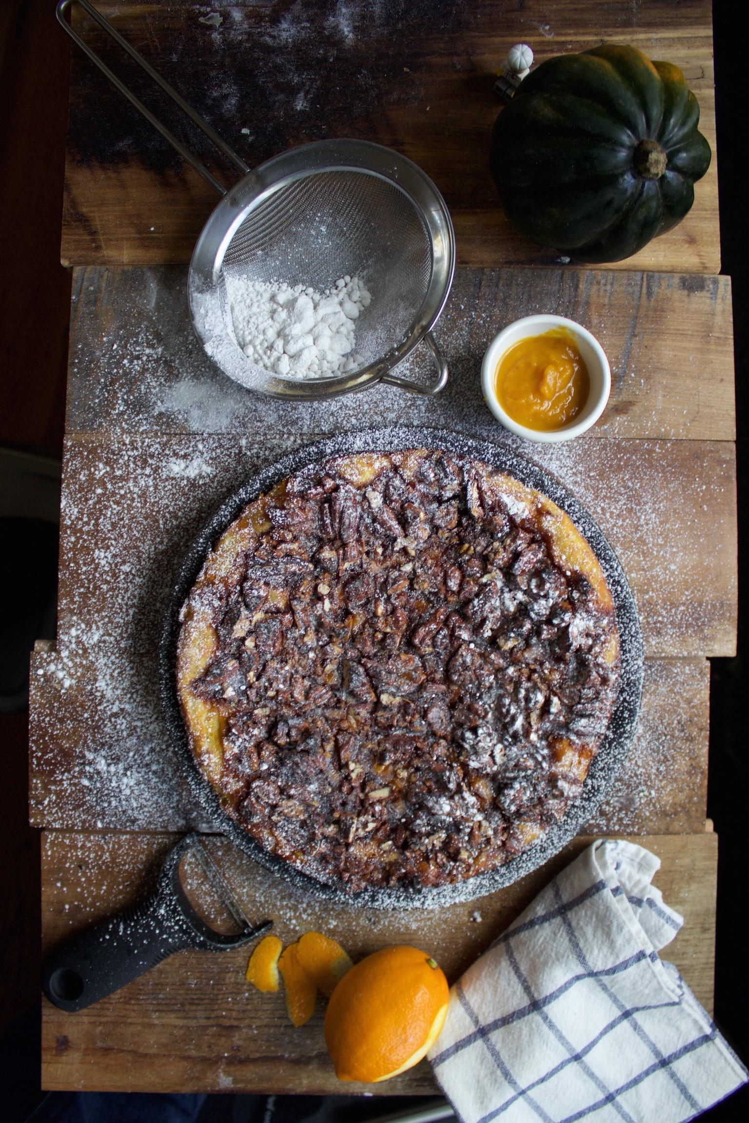 Pecan Pumpkin Pie on a Baking Steel