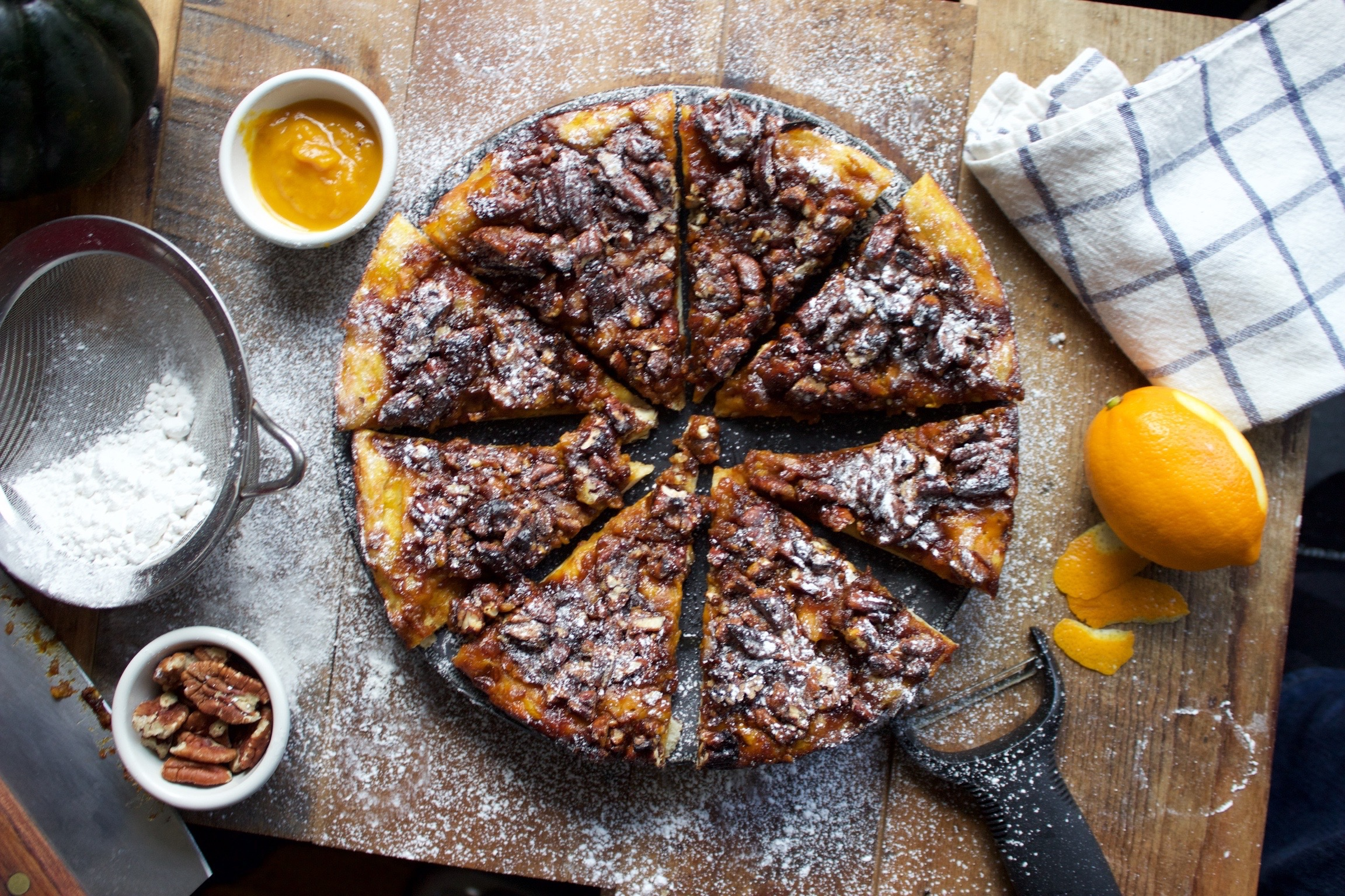 Pecan pumpkin pie right out of the oven..