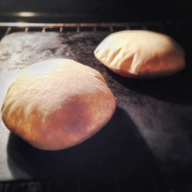 @savoringtraditions  at it again with some lovely pita hot off the steel.