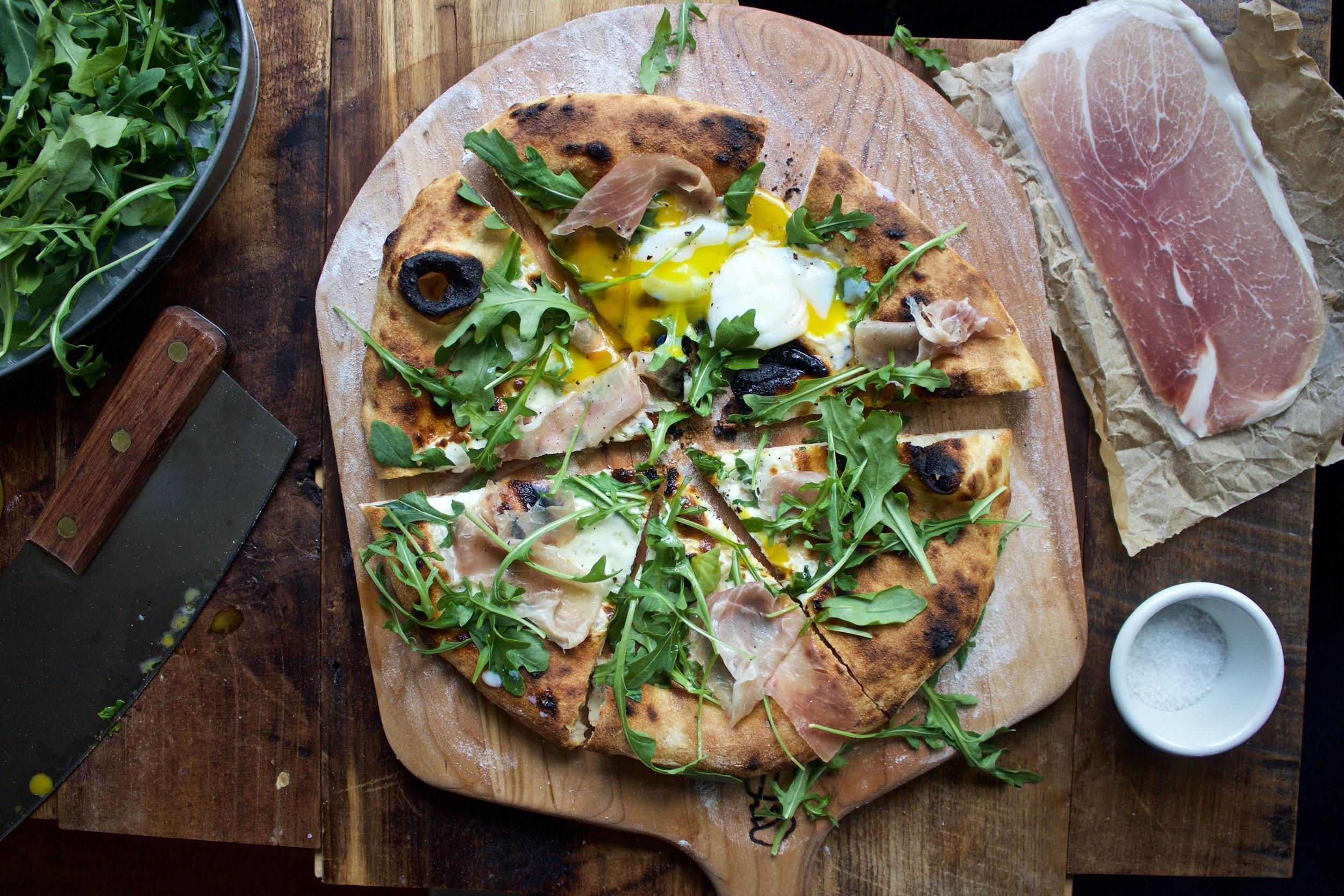 Sous vide egg pizza on a Baking Steel