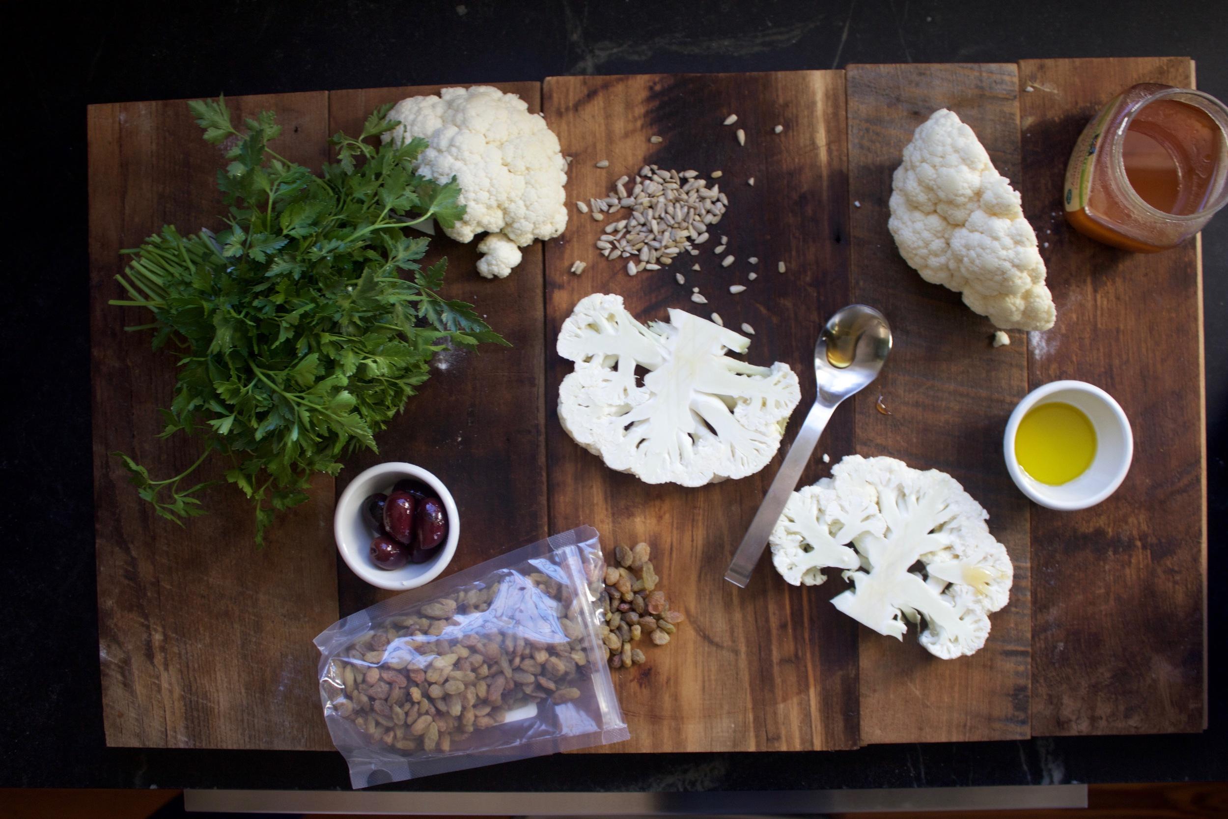 cauliflower steak mis en place