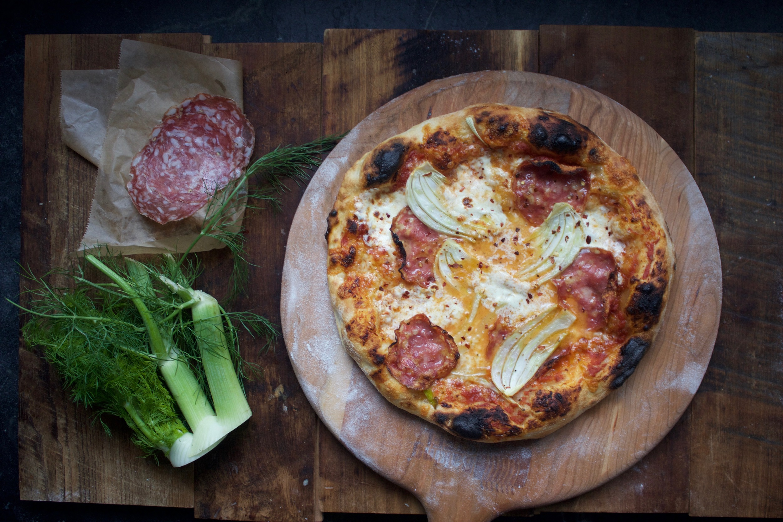 Baking Steel Pizza with Soppressate and Fennel