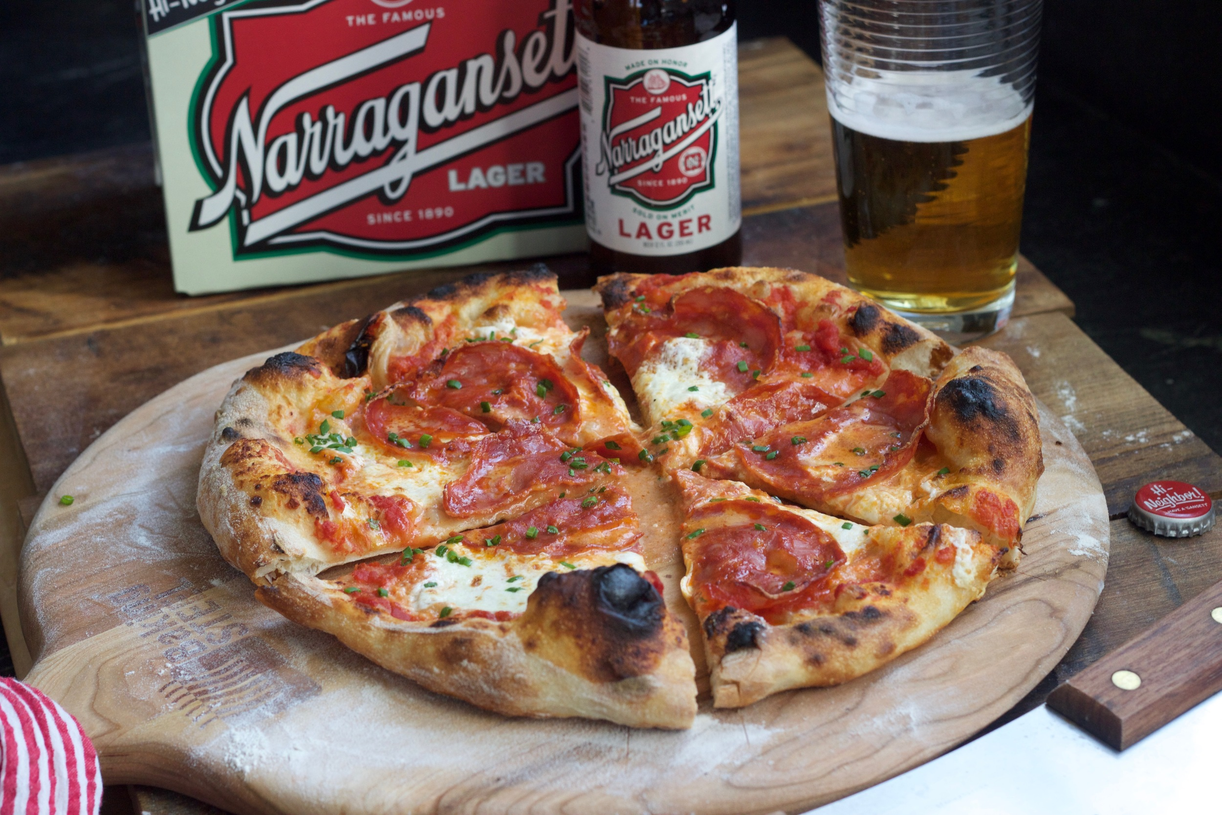 chorizo, burrata pizza with a Narragansett Lager