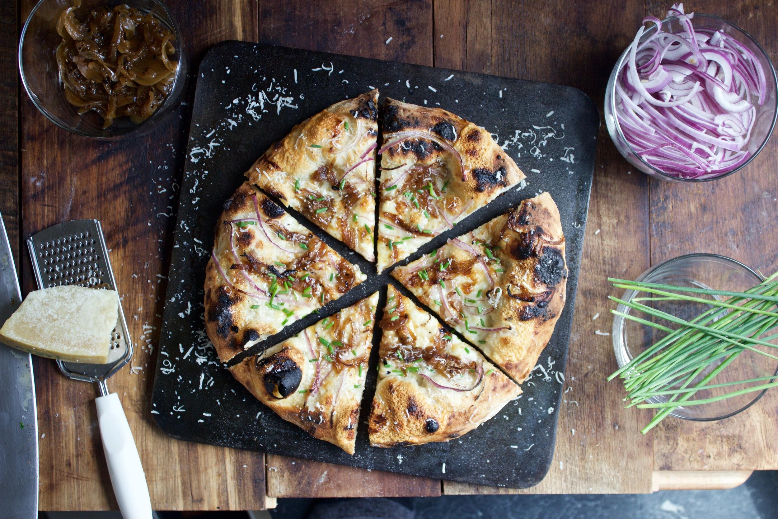 Trio of Onion Pizza