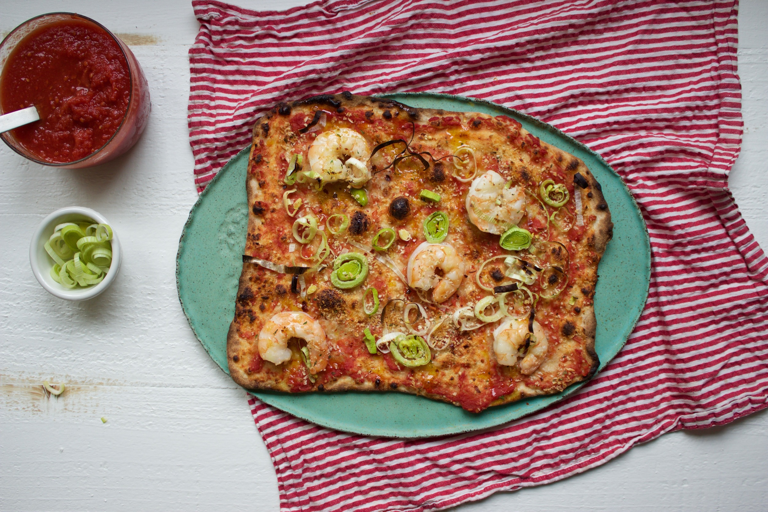 Spicy Shrimp Pizza on a Baking Steel