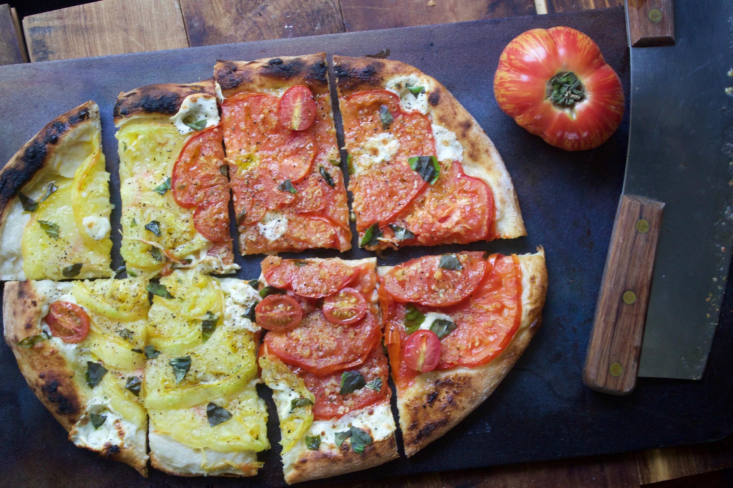 Tomato pizza on a Baking Steel