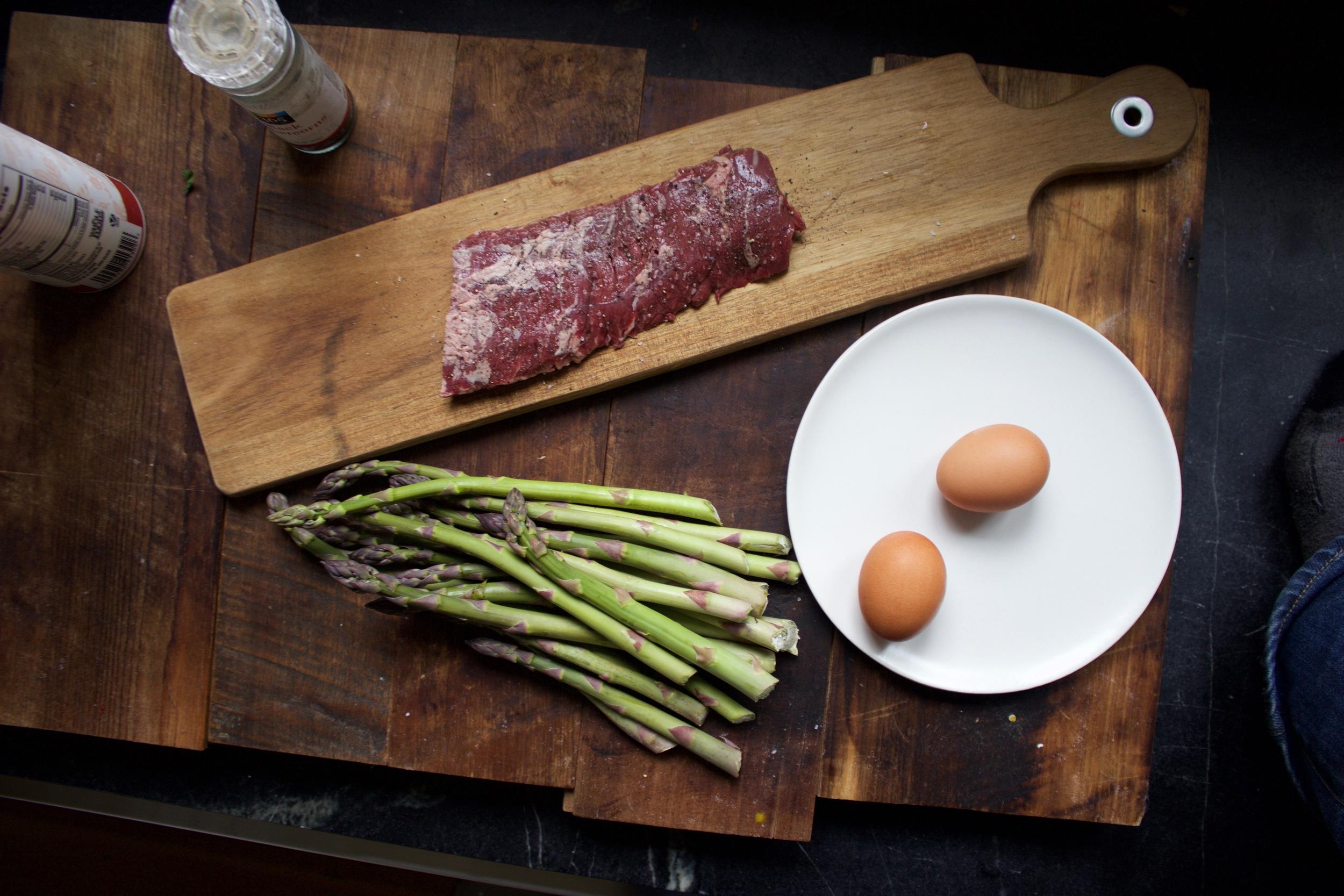 Steak and egg mis en place