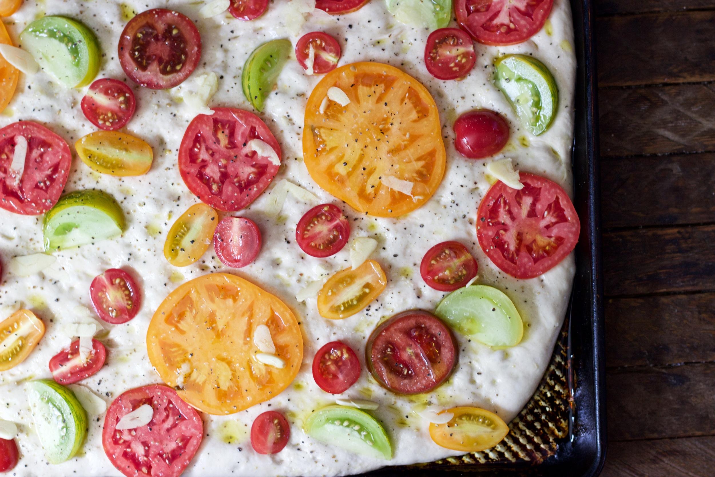 tomato focaccia before the bake