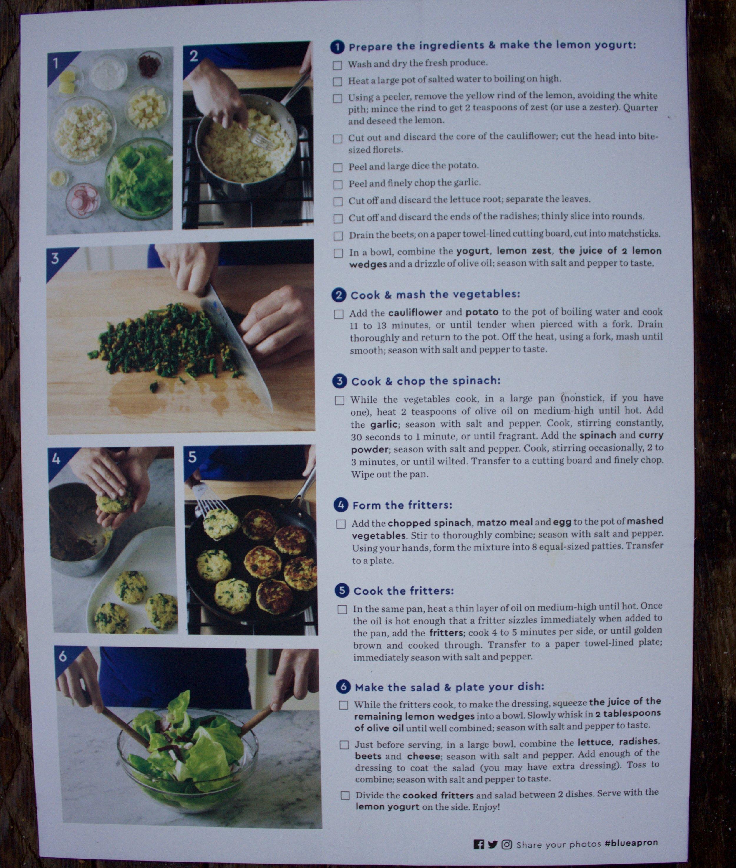 The recipe card (back).