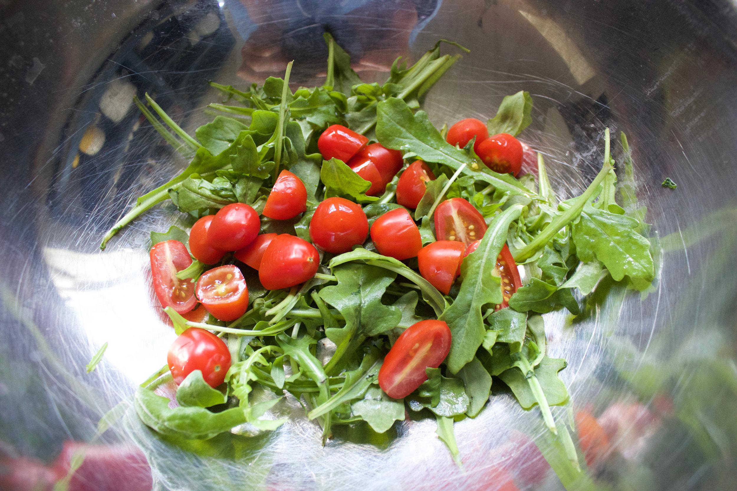 arugula and tomatoes