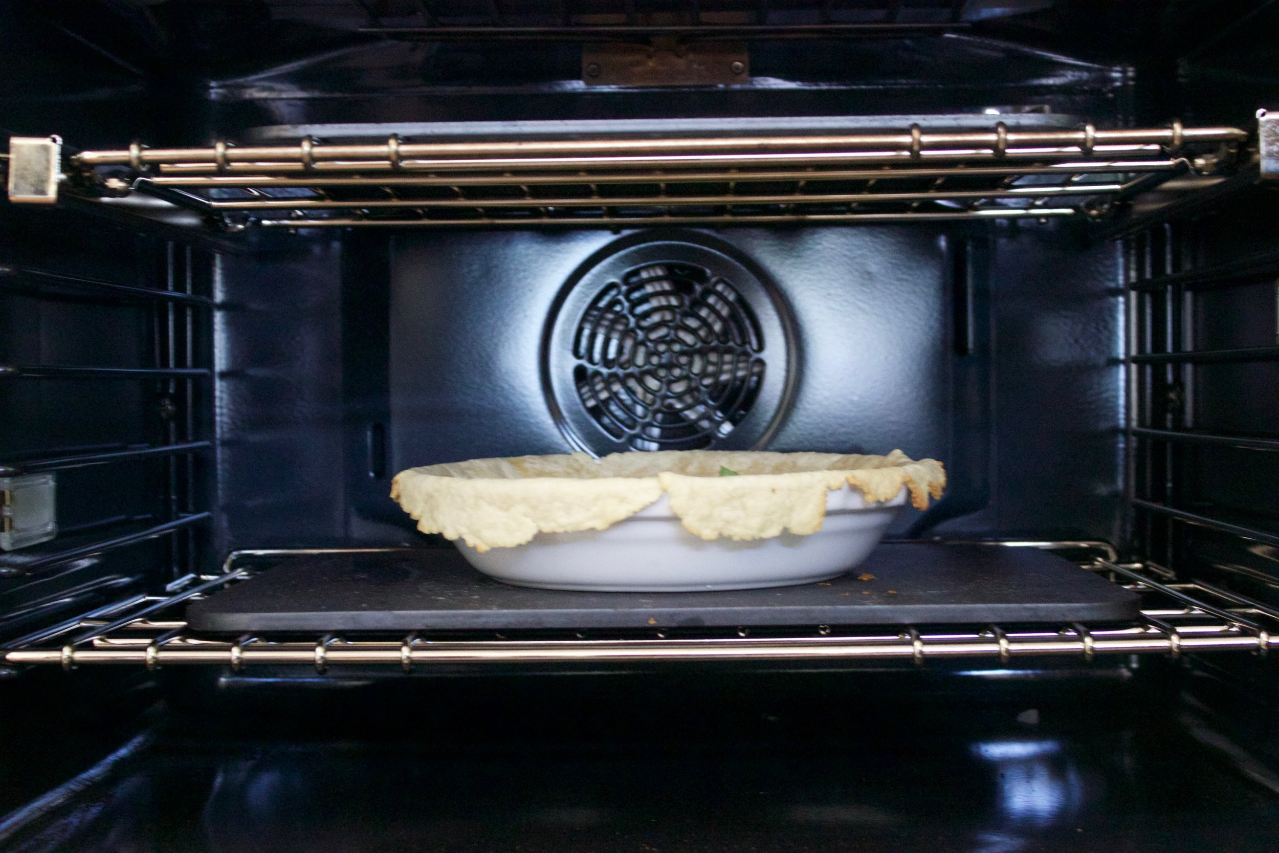 pie plate on top of steel