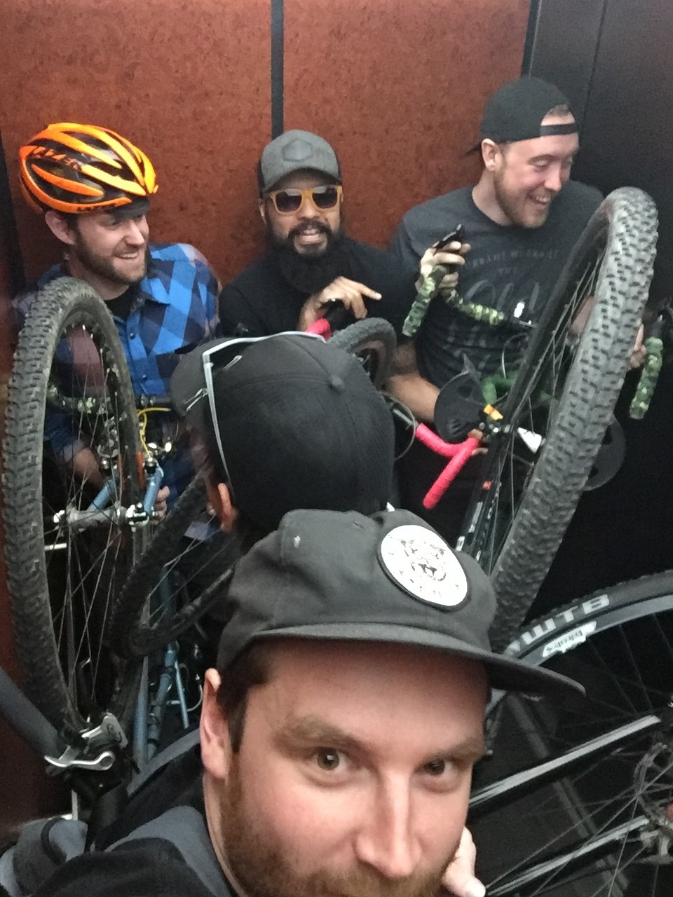Just 5 grown ass men with our bikes in a holiday inn express elivator.